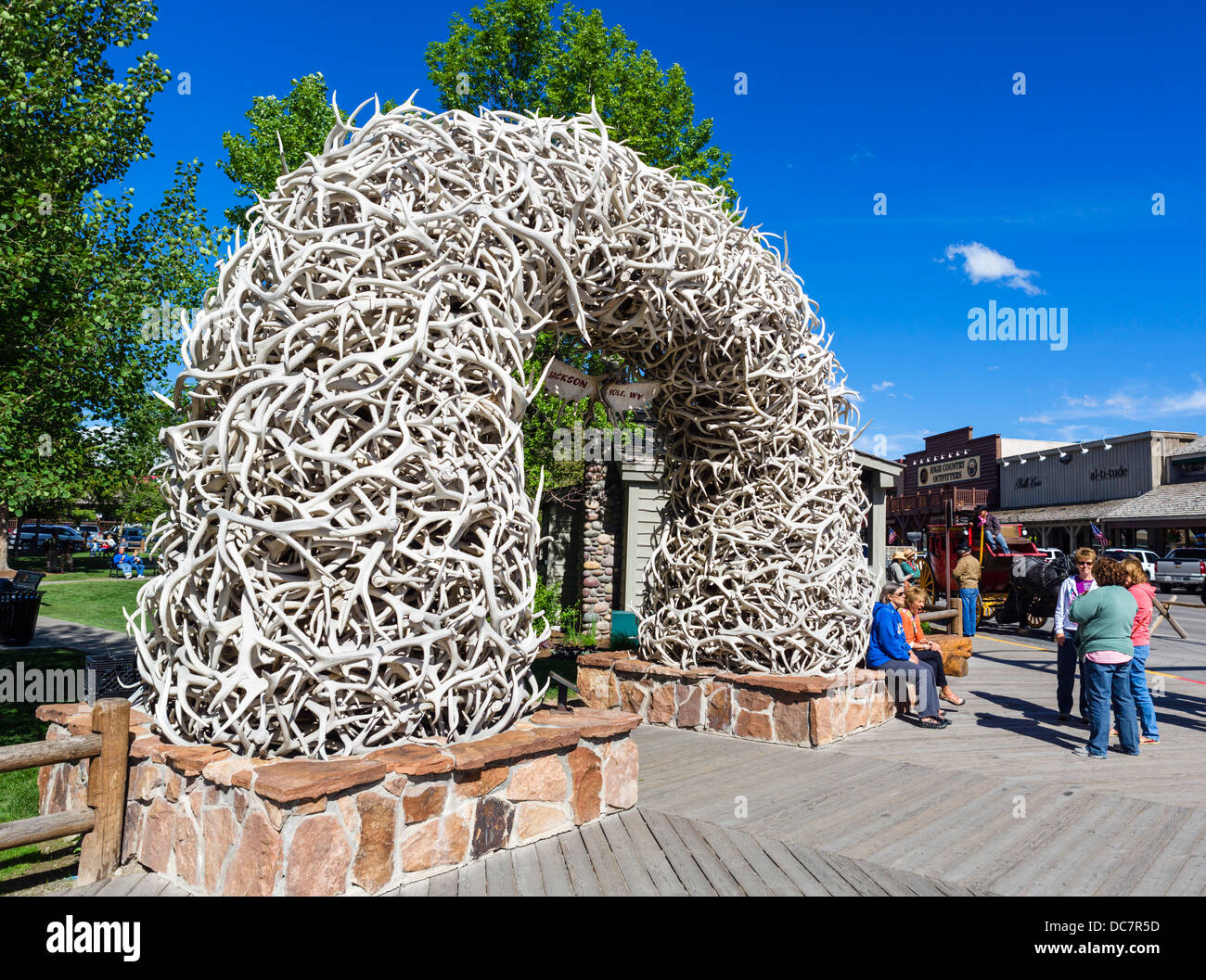 Arch of shed Elk antlers in the town square, Jackson, Wyoming, USA - Stock Image