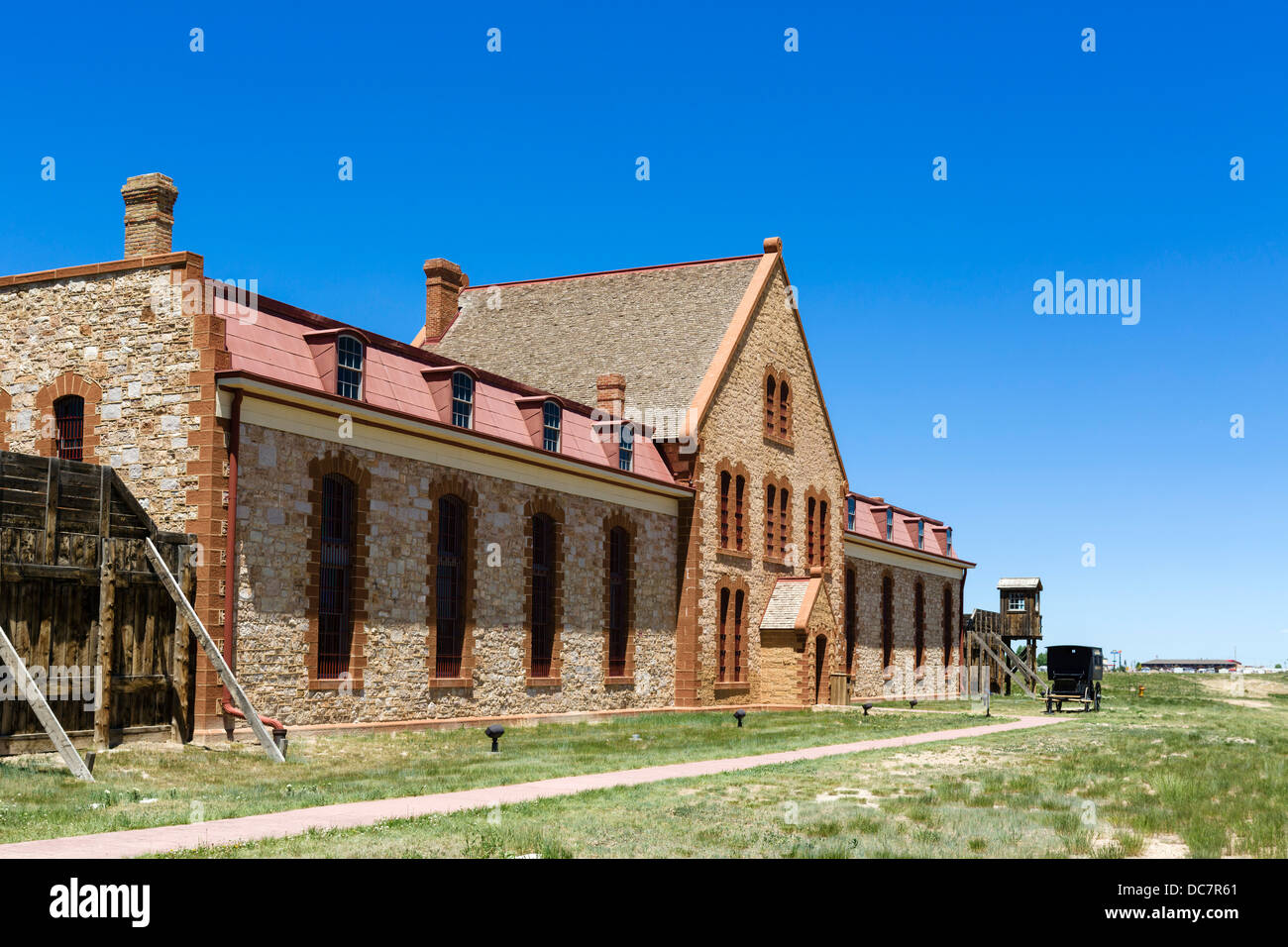 Wyoming Territorial Prison Museum, where the outlaw Butch Cassidy was once imprisoned, Laramie, Wyoming, USA - Stock Image