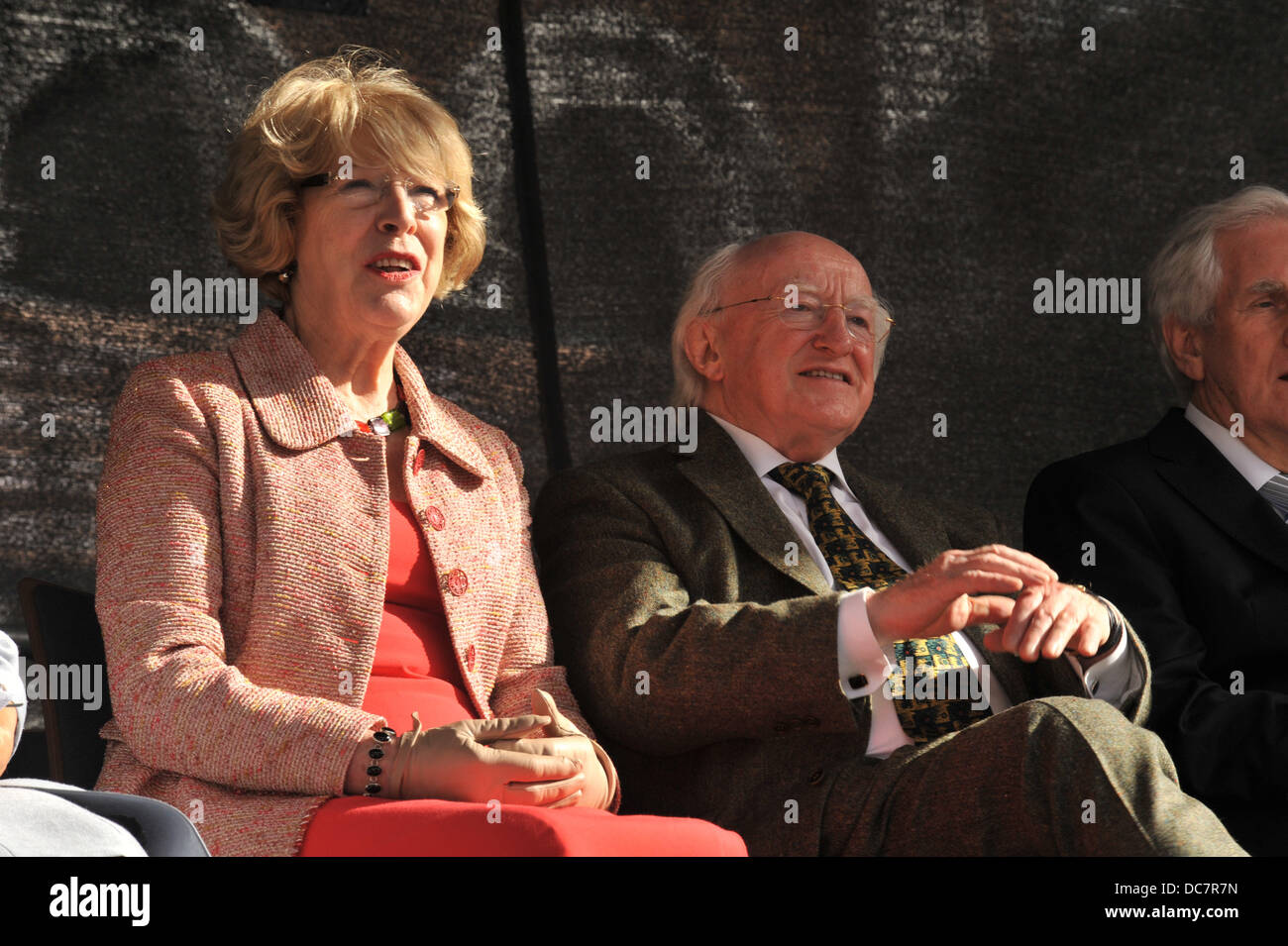 Derry / Londonderry, Northern Ireland, UK. 10th Aug, 2013. Irish President Michael D. Higgins (right) and his wife - Stock Image