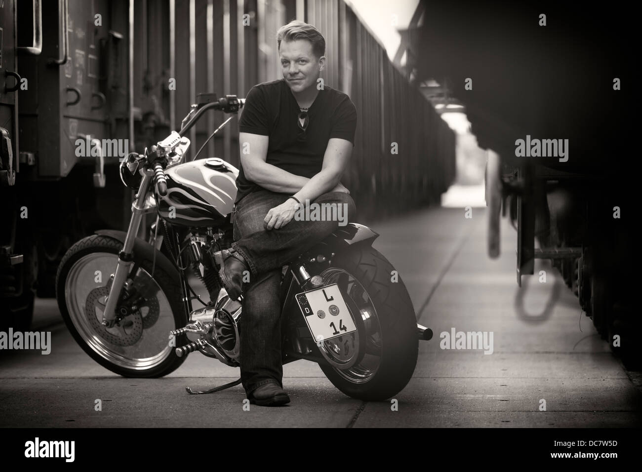 Young Man Harley Davidson Stock Photos & Young Man Harley Davidson