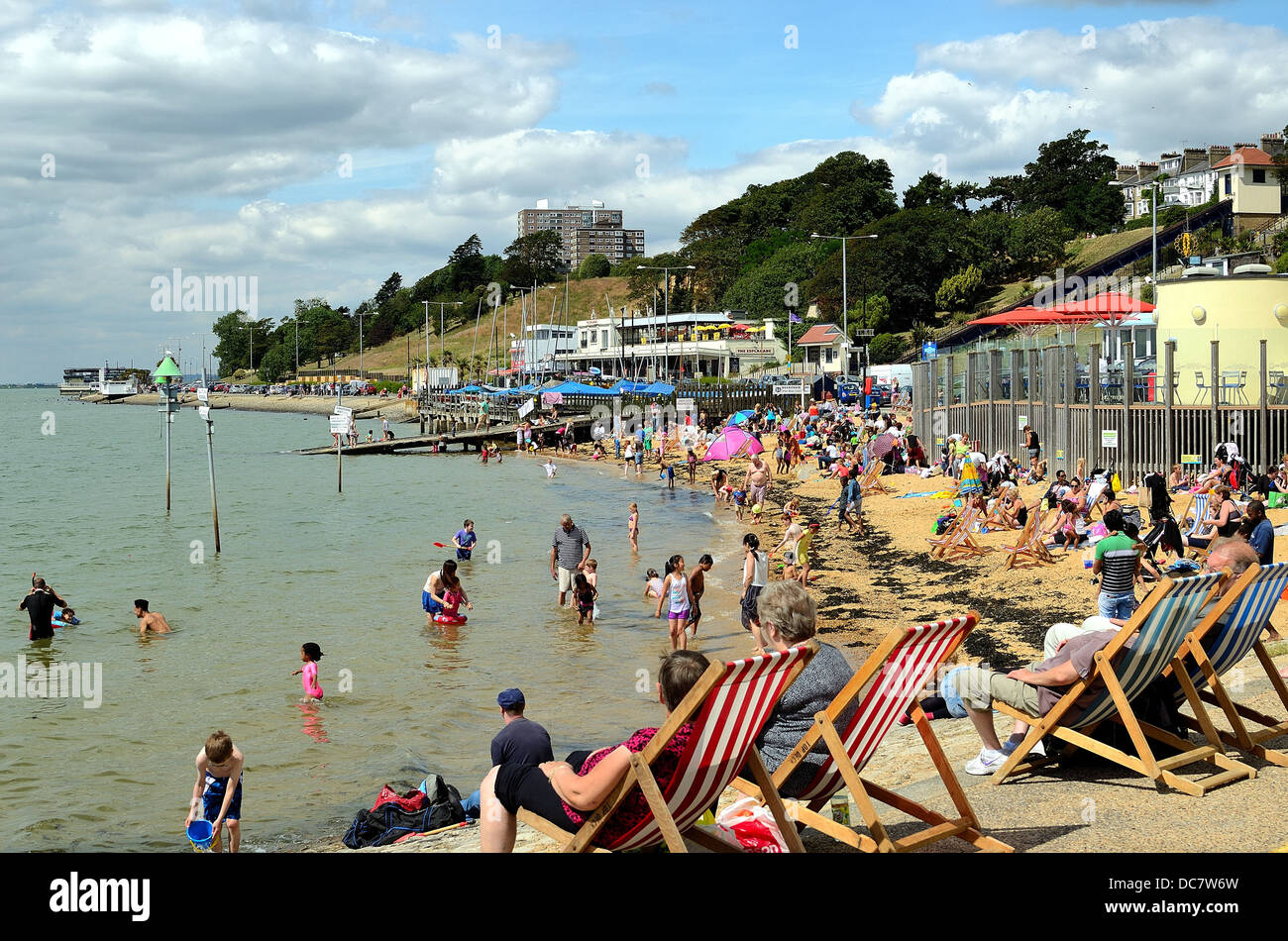 Busy seafront in summertime at Southend on Sea Essex England UK Stock Photo