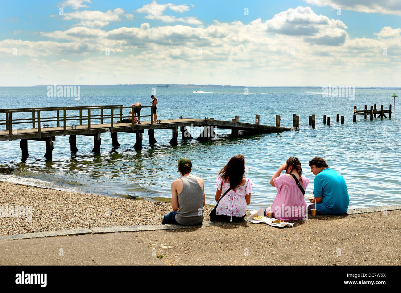 Seafront in summertime at Southend on Sea Essex UK - Stock Image