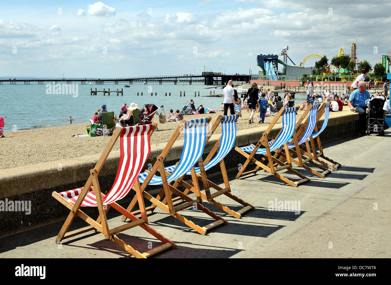 Busy seafront in summertime at Southend on Sea Essex UK - Stock Image
