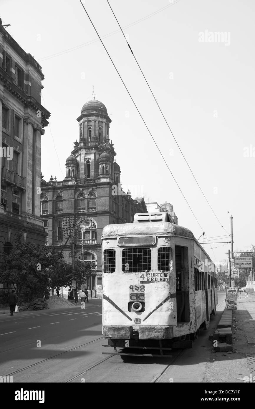 Tram of the calcutta tramways company in calcutta kolkata stock image