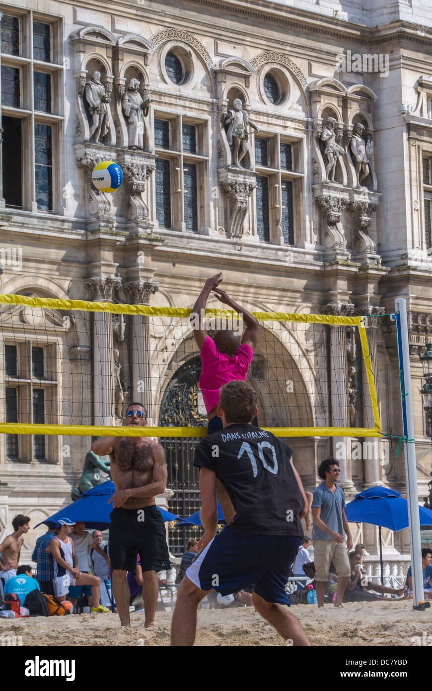 Paris, France, Young People Playing on City Beach, 'Paris Plages', Beach Volleyball, - Stock Image