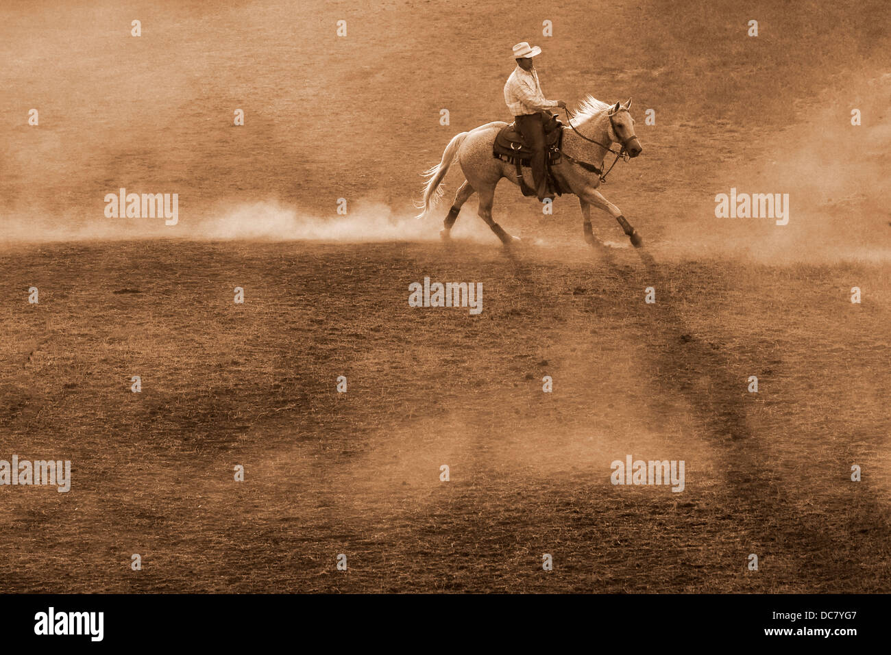 Cowboy practicing before the Chief Joseph Days Rodeo in Joseph, Oregon. - Stock Image