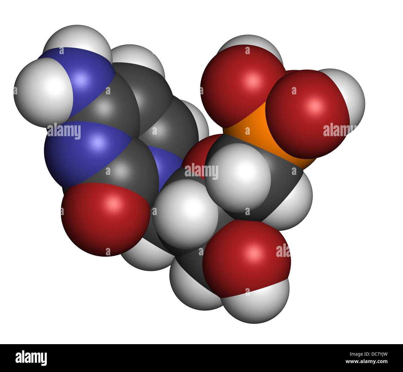 Cidofovir cytomegalovirus (CMV, HCMV) drug, chemical structure. Can probably also be used against smallpox infection. - Stock Image
