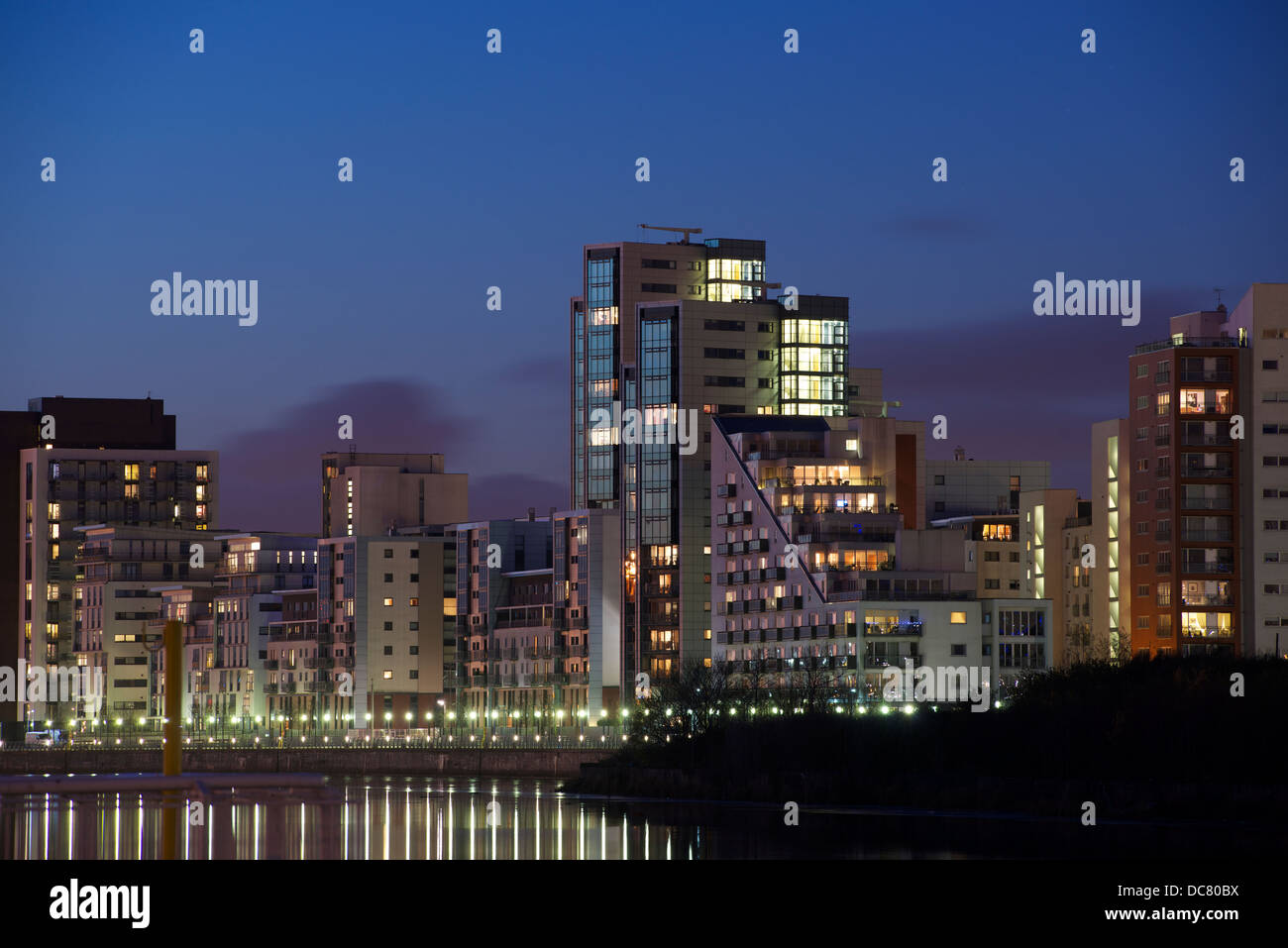 Glasgow Harbour Apartment Development at Dusk, Glasgow - Stock Image