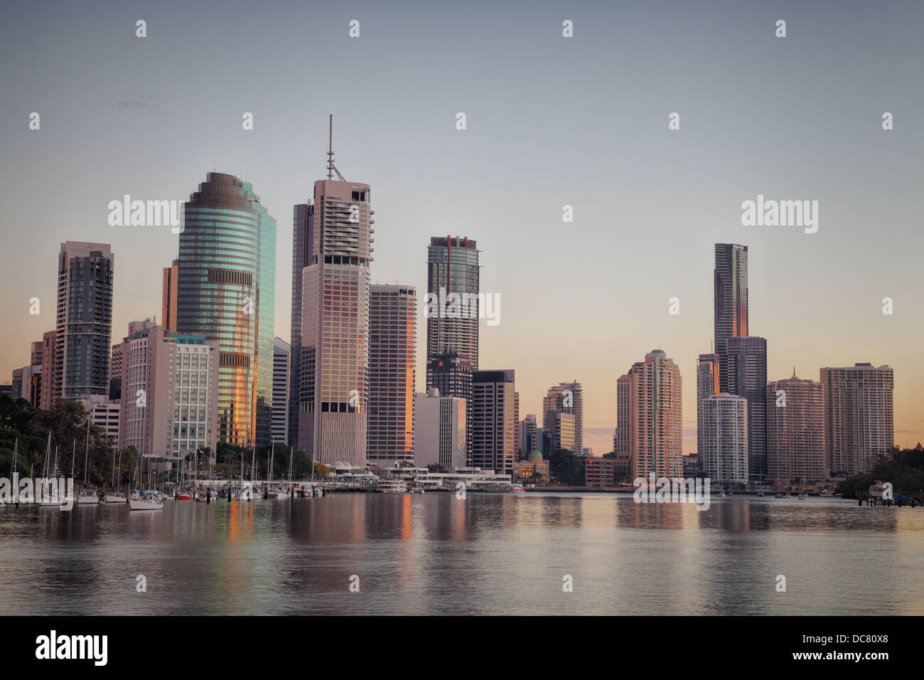 Downtown Brisbane on a beautiful, clear winter's morning. - Stock Image