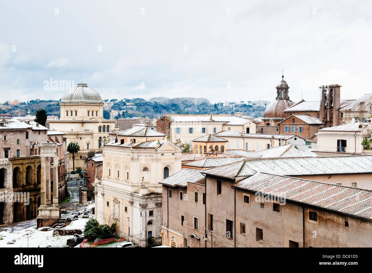 View to the Sinagoga in Rome after snow fall, Rome, Italy - Stock Image