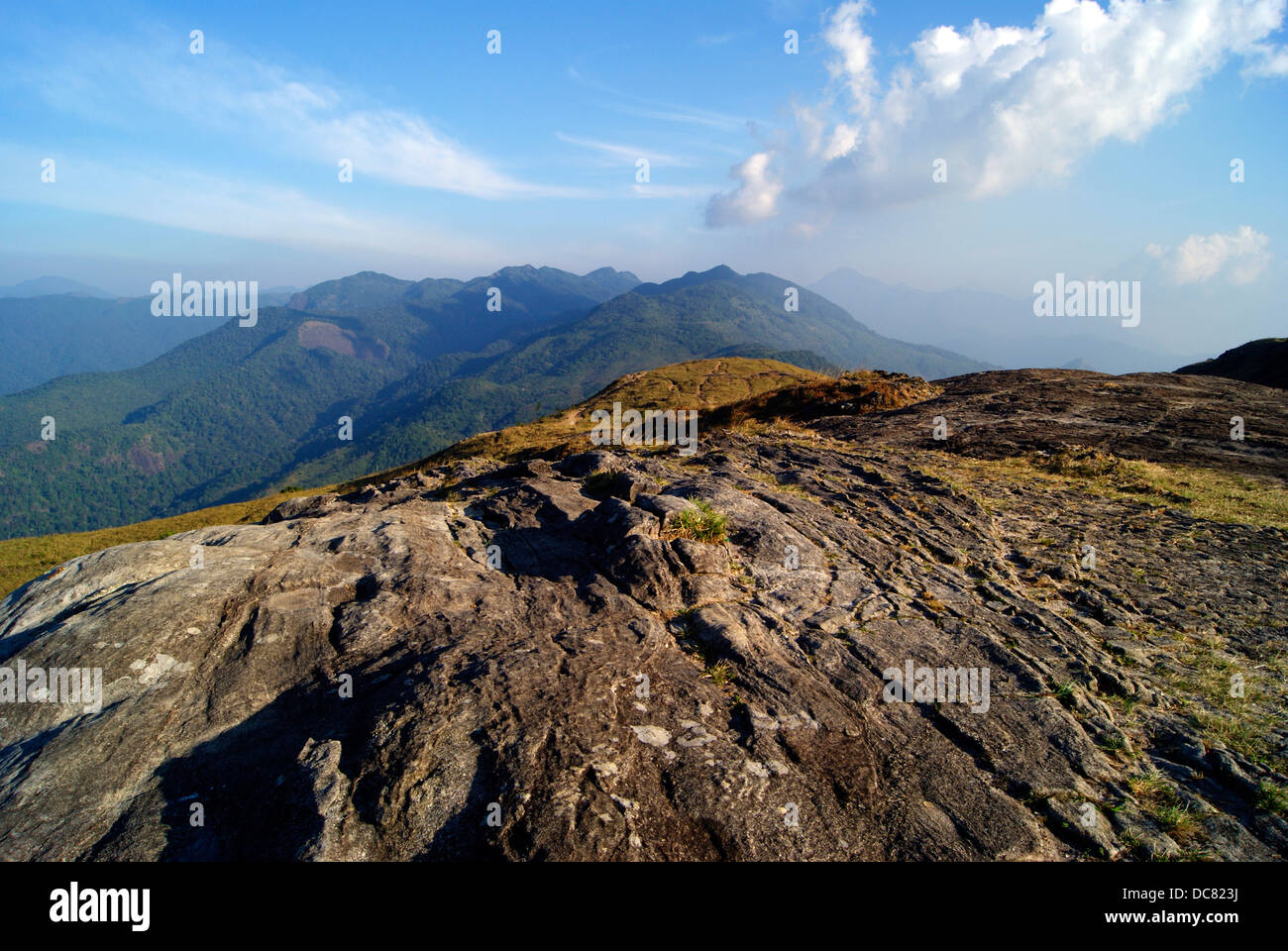 Western Ghats of South India Location Ponmudi at Trivandrum District Kerala Clouds and Hill top View - Stock Image