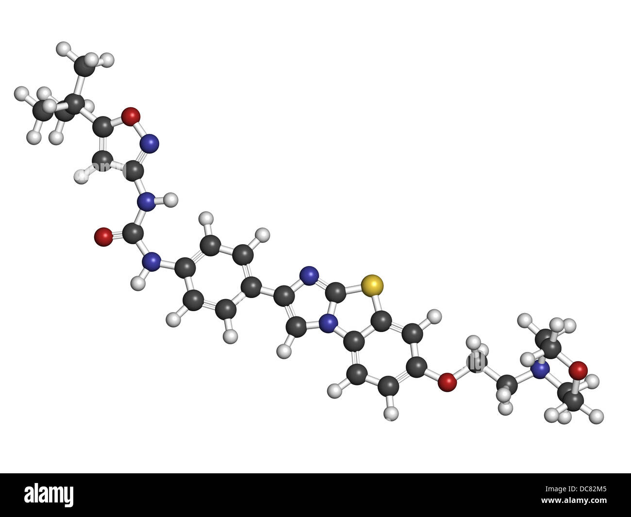 Quizartinib investigational acute myeloid leukemia (AML) drug, chemical structure Atoms are represented as spheres. - Stock Image