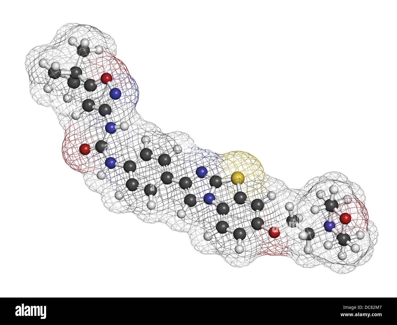 Quizartinib investigational acute myeloid leukemia (AML) drug, chemical structure Atoms are represented as spheres. Stock Photo