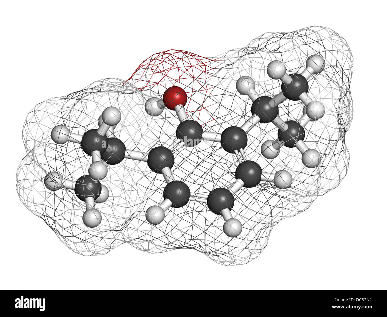 Propofol anesthetic drug, chemical structure. Atoms are represented as spheres with conventional color coding - Stock Image