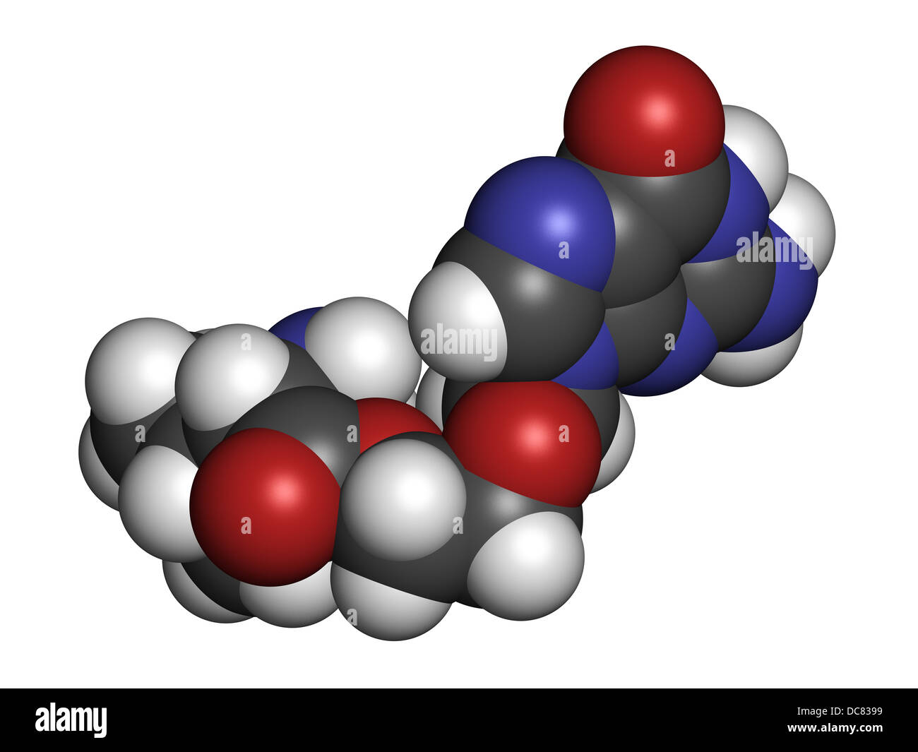 Valaciclovir (valacyclovir) herpes infection drug, chemical structure. Atoms are represented as spheres with conventional - Stock Image