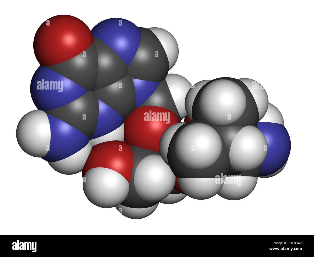Valganciclovir cytomegalovirus (CMV, HCMV) drug, chemical structure. Atoms are represented as spheres. - Stock Image