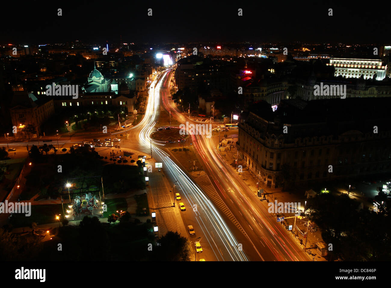 Bucharest city by night - Stock Image