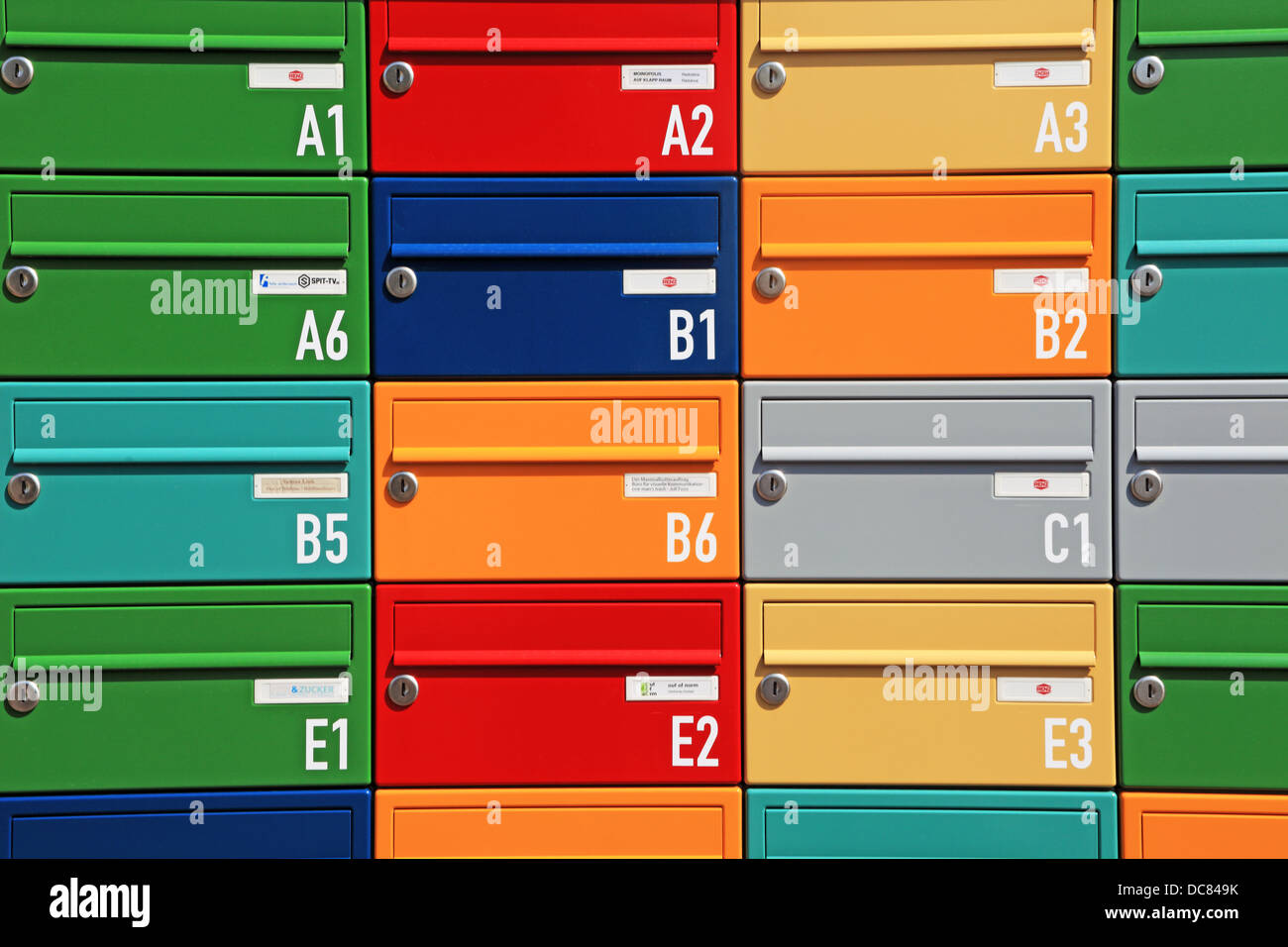 colourful mailboxes - Stock Image