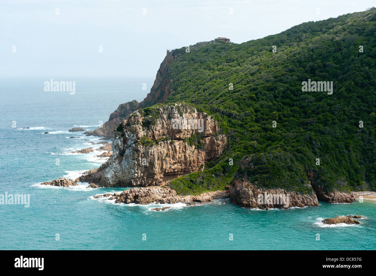 View of the Western Head and Knysna lagoon from Eastern Head Viewpoint, Knysna, Western Cape, South Africa - Stock Image