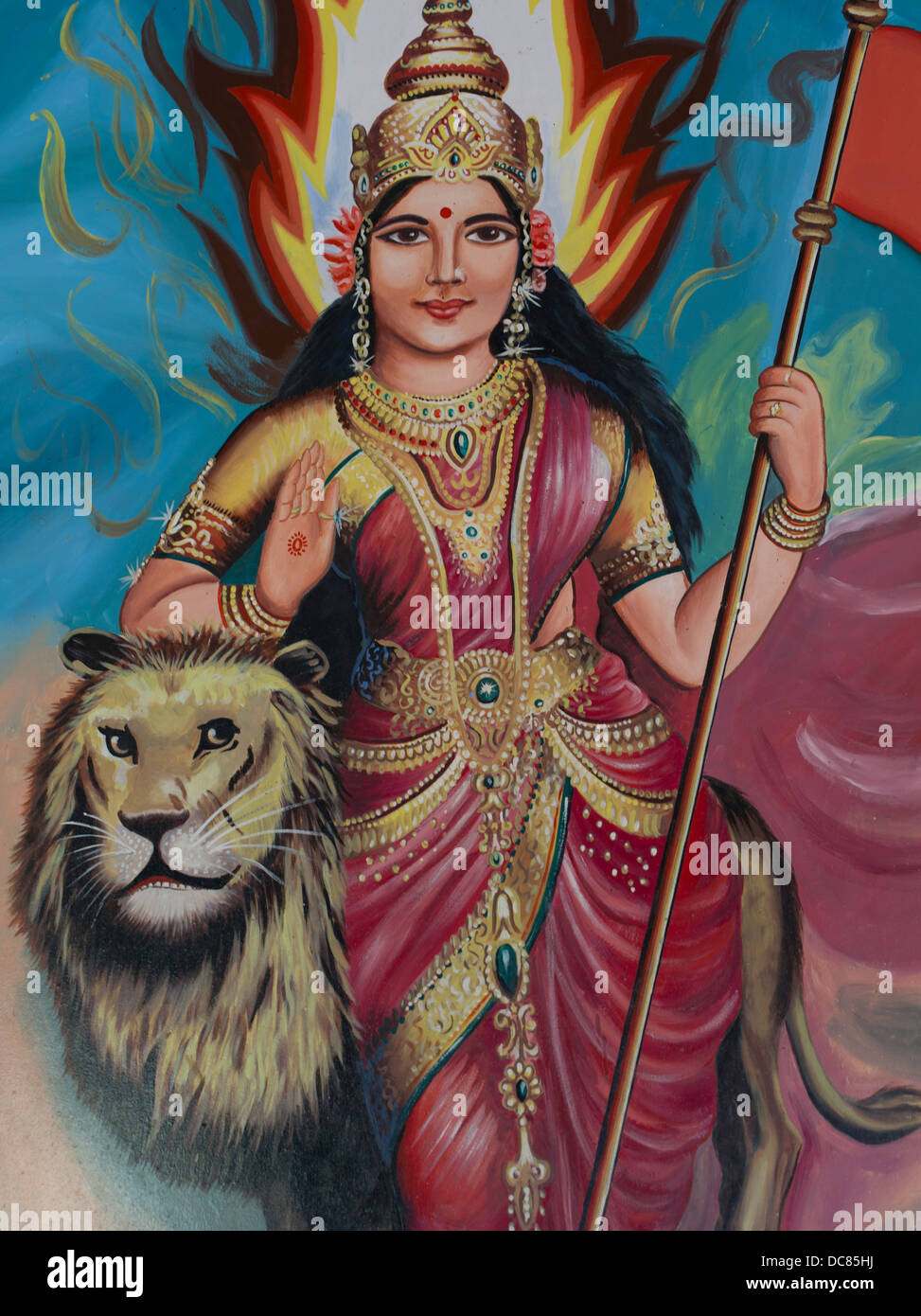 Goddess Durga / Shakthi painted mural on the buildings located on the banks of the Ganges River - Varanasi, Uttar - Stock Image