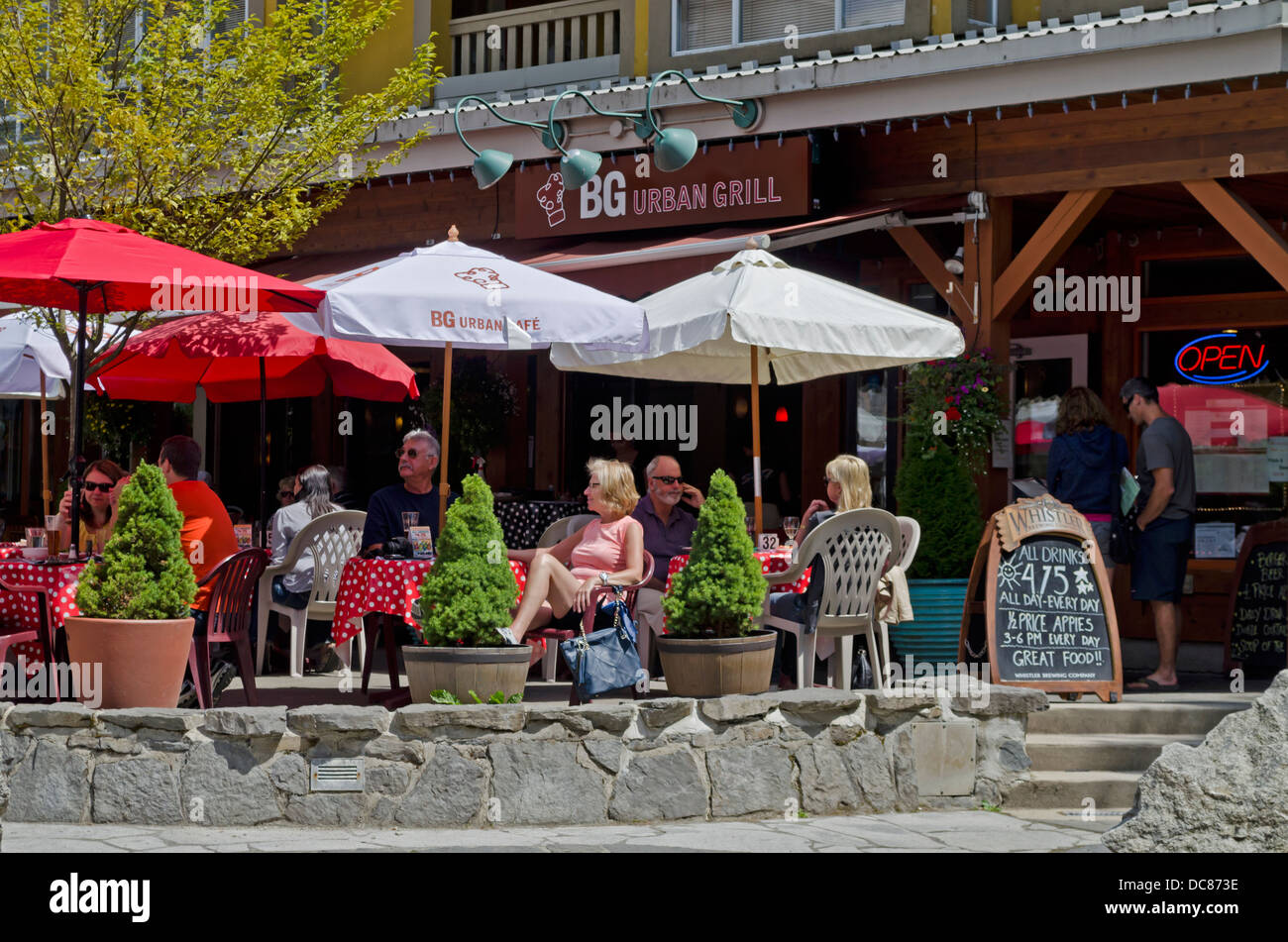 Outdoor Diners At Tables In Restaurants And Cafes In Whistler