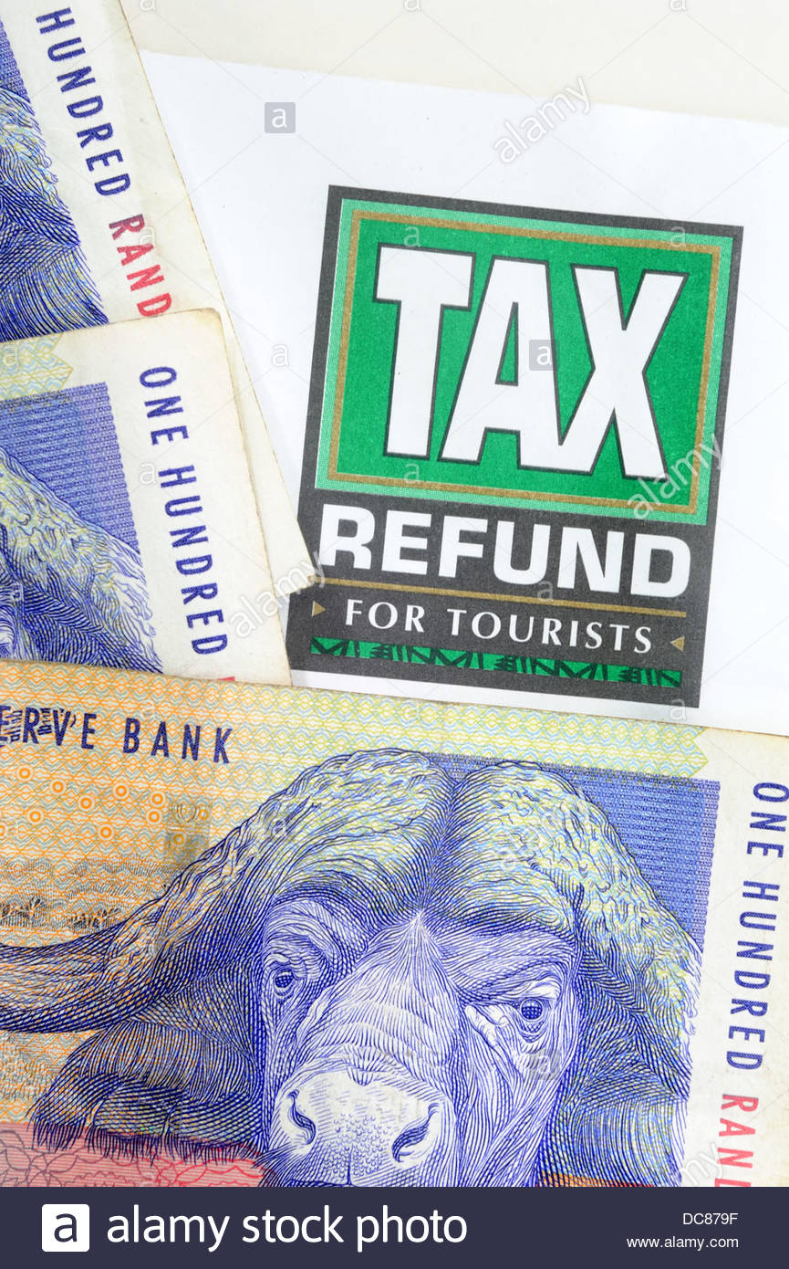 South African Rand and Tax refund for tourists logo. - Stock Image