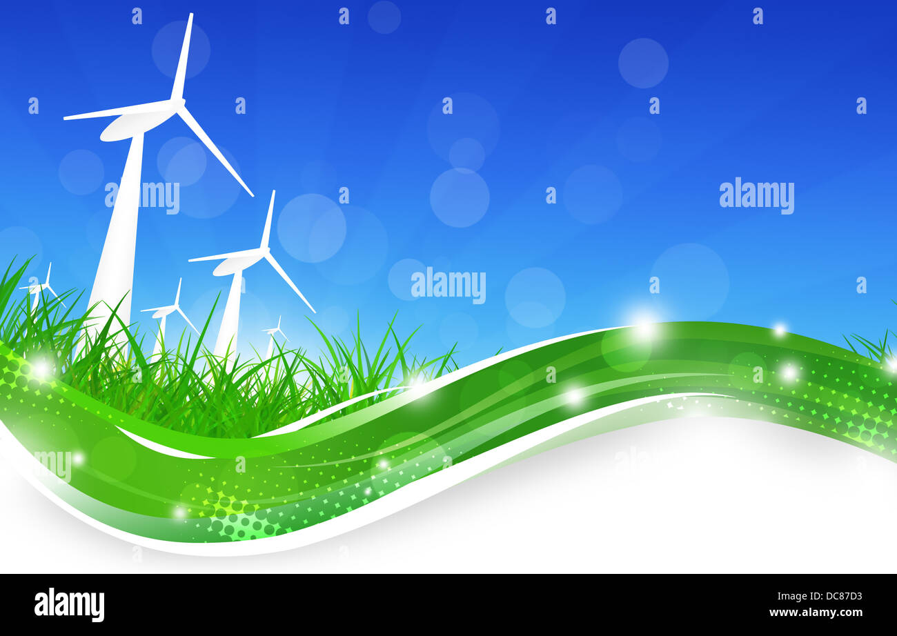 concept illustration of wind turbines in the nature - Stock Image