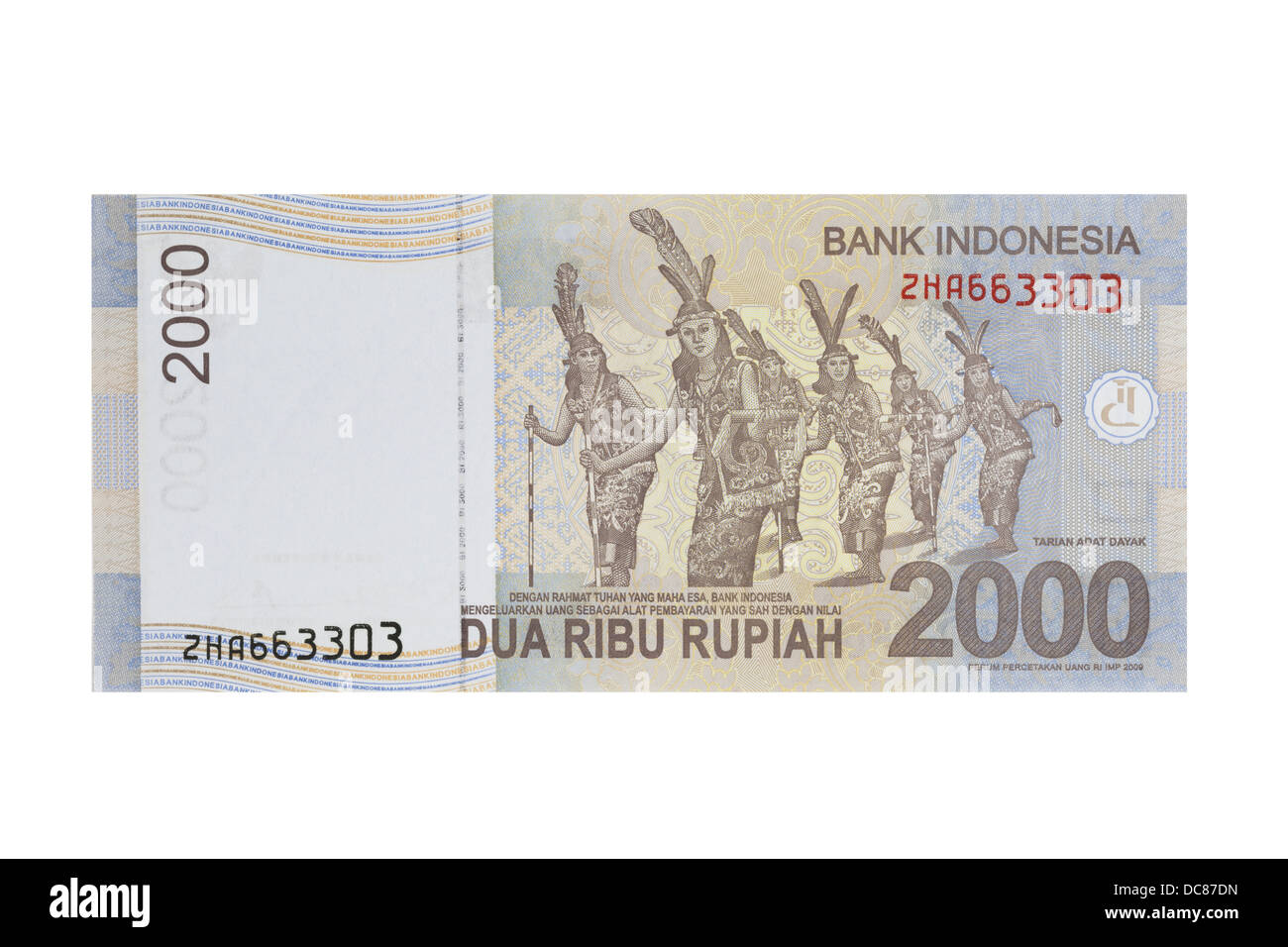 Indonesian two thousand rupiah note on a white background - Stock Image