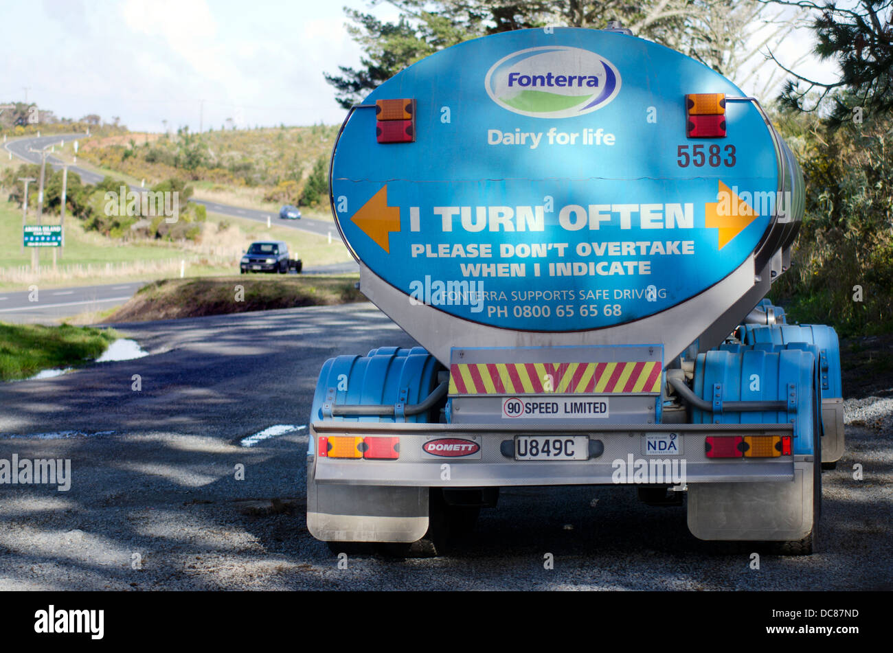 Fonterra company milk truck in New Zealand. Fonterra holds 30% of the world's dairy exports and is New Zealand's - Stock Image