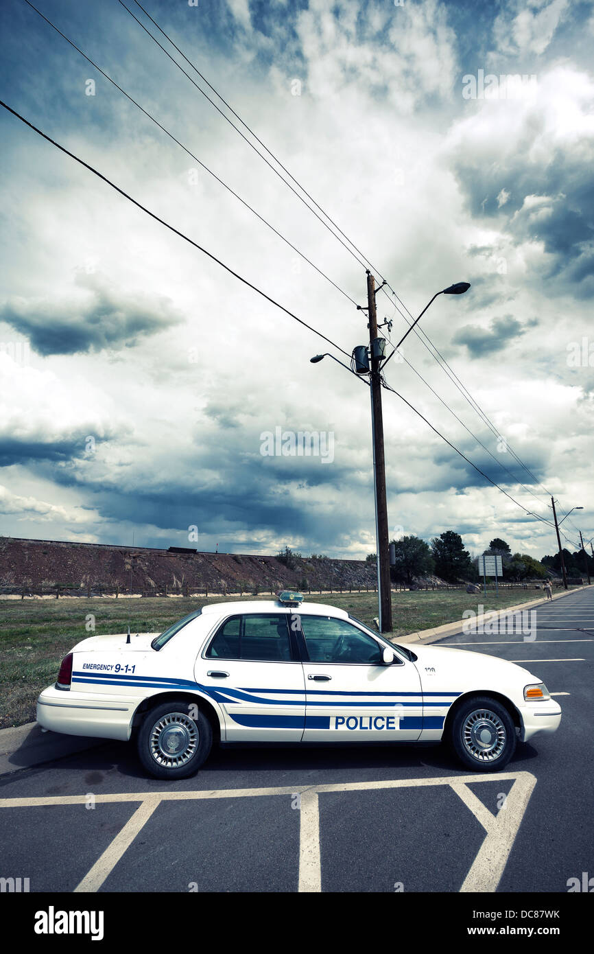 Vertical view of cop car with special photographic processing - Stock Image