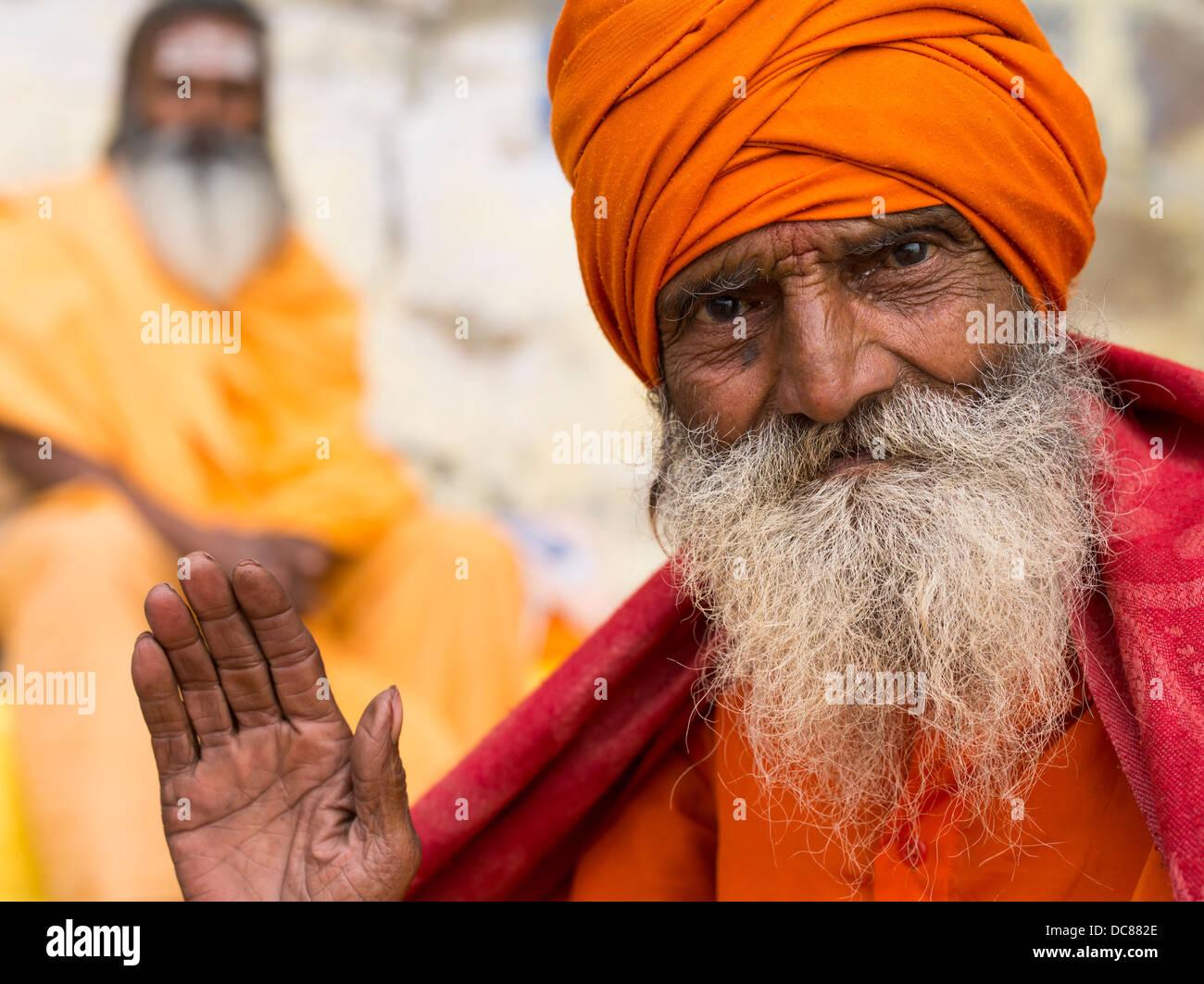 Sadhu holy man on the banks of the Ganges River - Varanasi, India Stock Photo