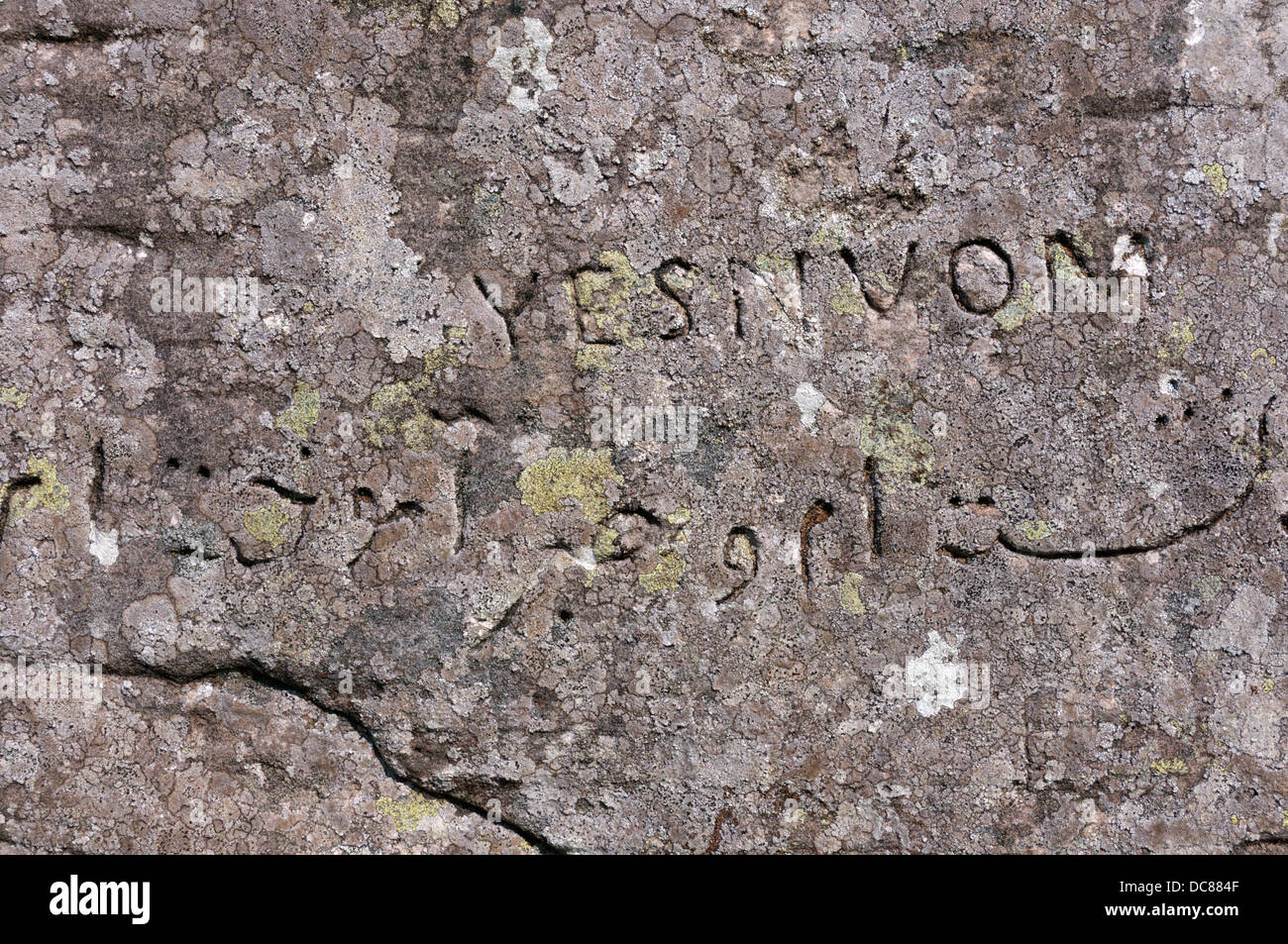 Victorian graffiti carved on the Dwarfie Stane on Hoy.  DETAILS IN DESCRIPTION. Stock Photo