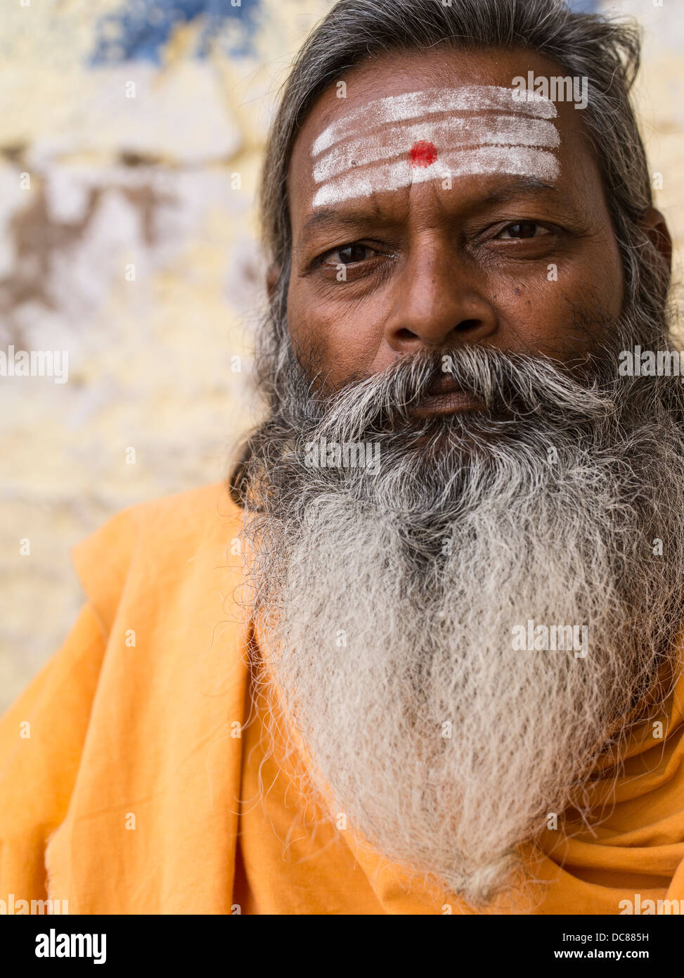 Sadhu holy man on the banks of the Ganges River - Varanasi, India Stock Photo