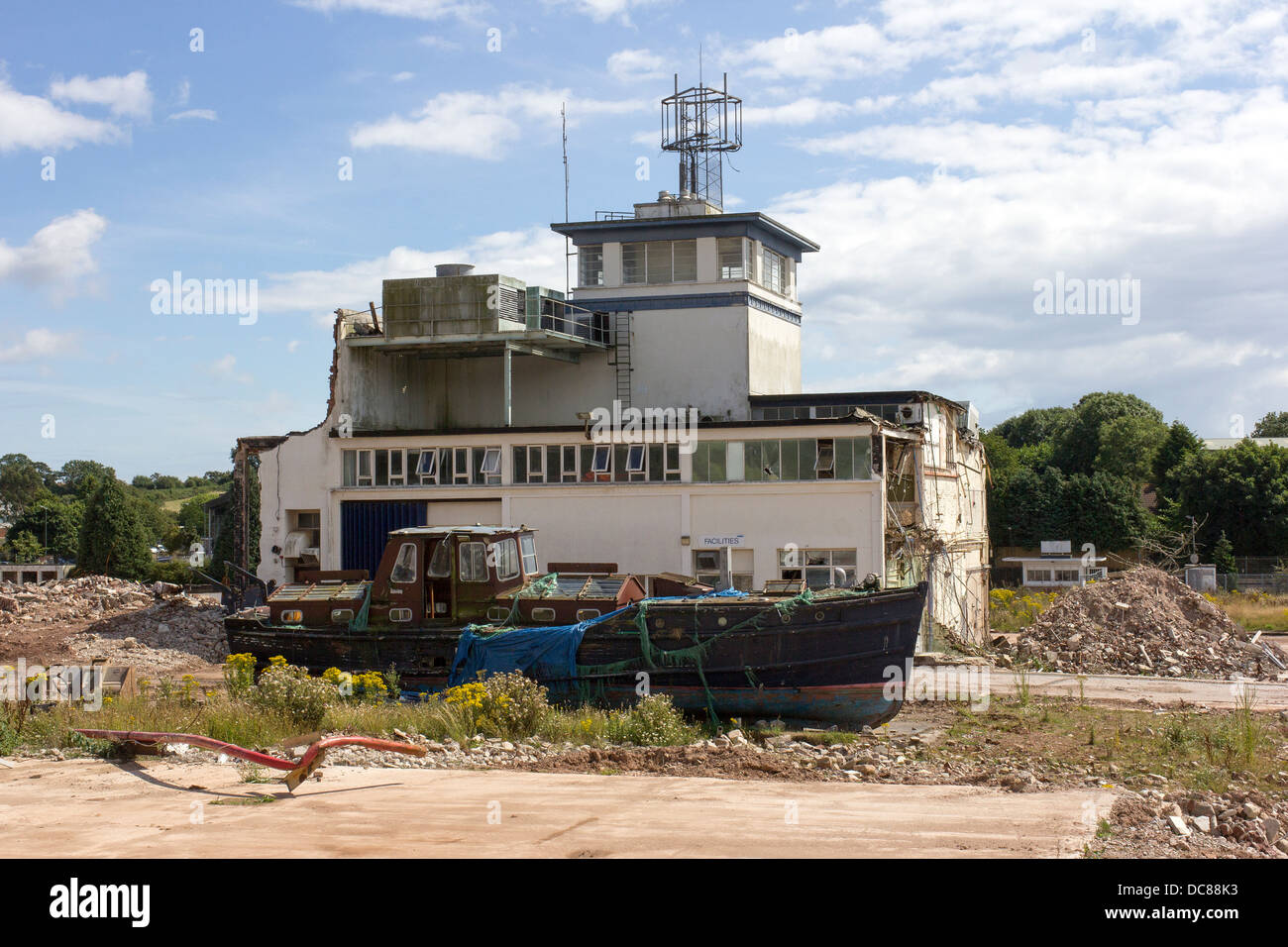 beached boat stranded on wasteland,mooring, england, english, outdoors, buoy, places, boat, tourism, daytime, riverfront, - Stock Image