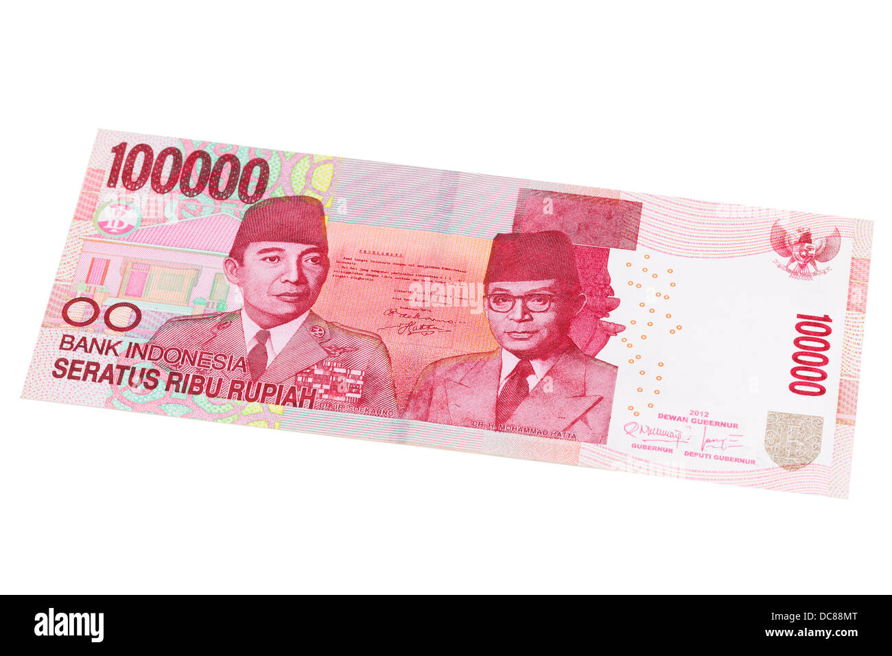 Indonesian one hundred thousand rupiah note on a white background - Stock Image