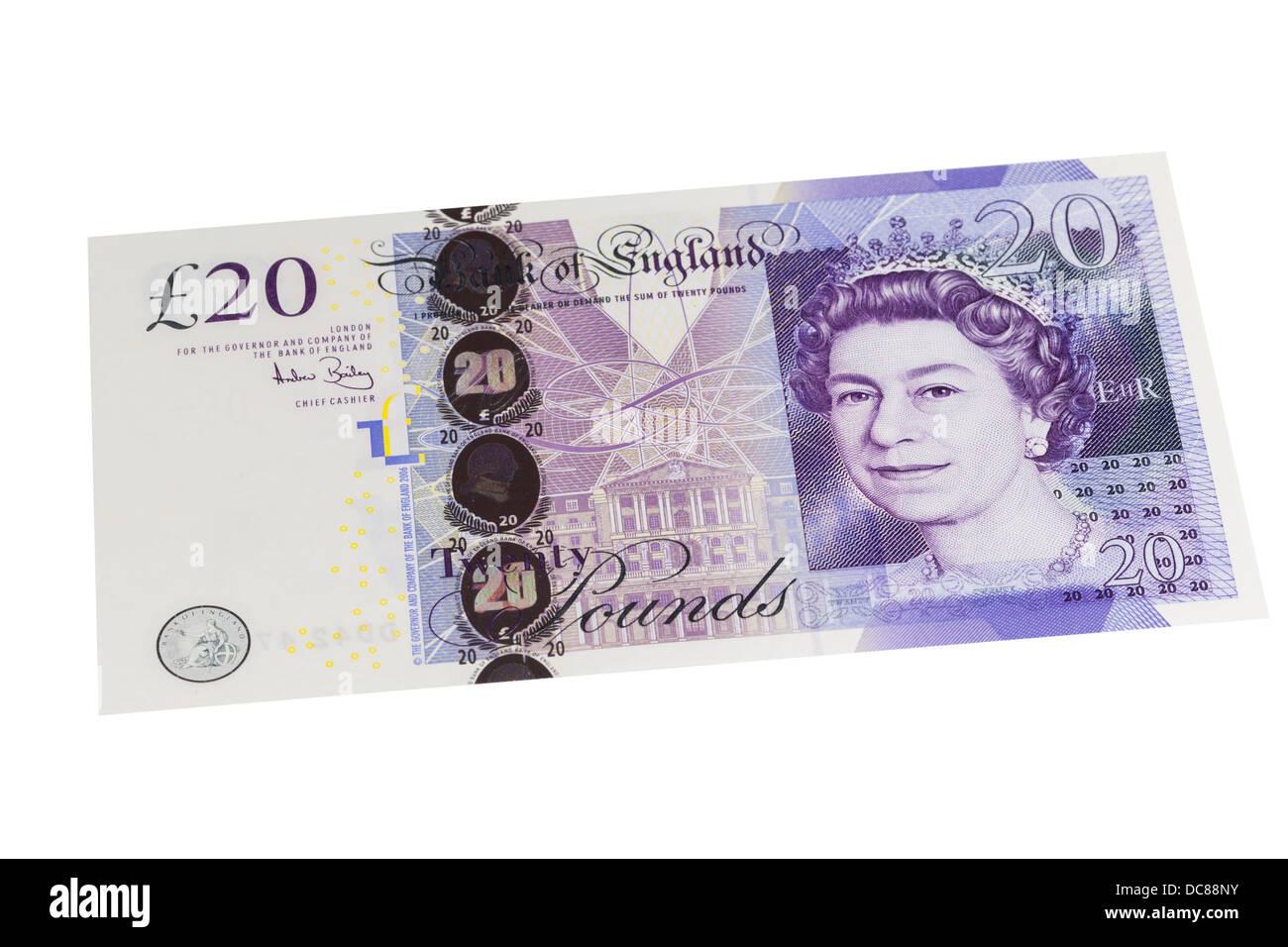 UK twenty pound bill - Stock Image