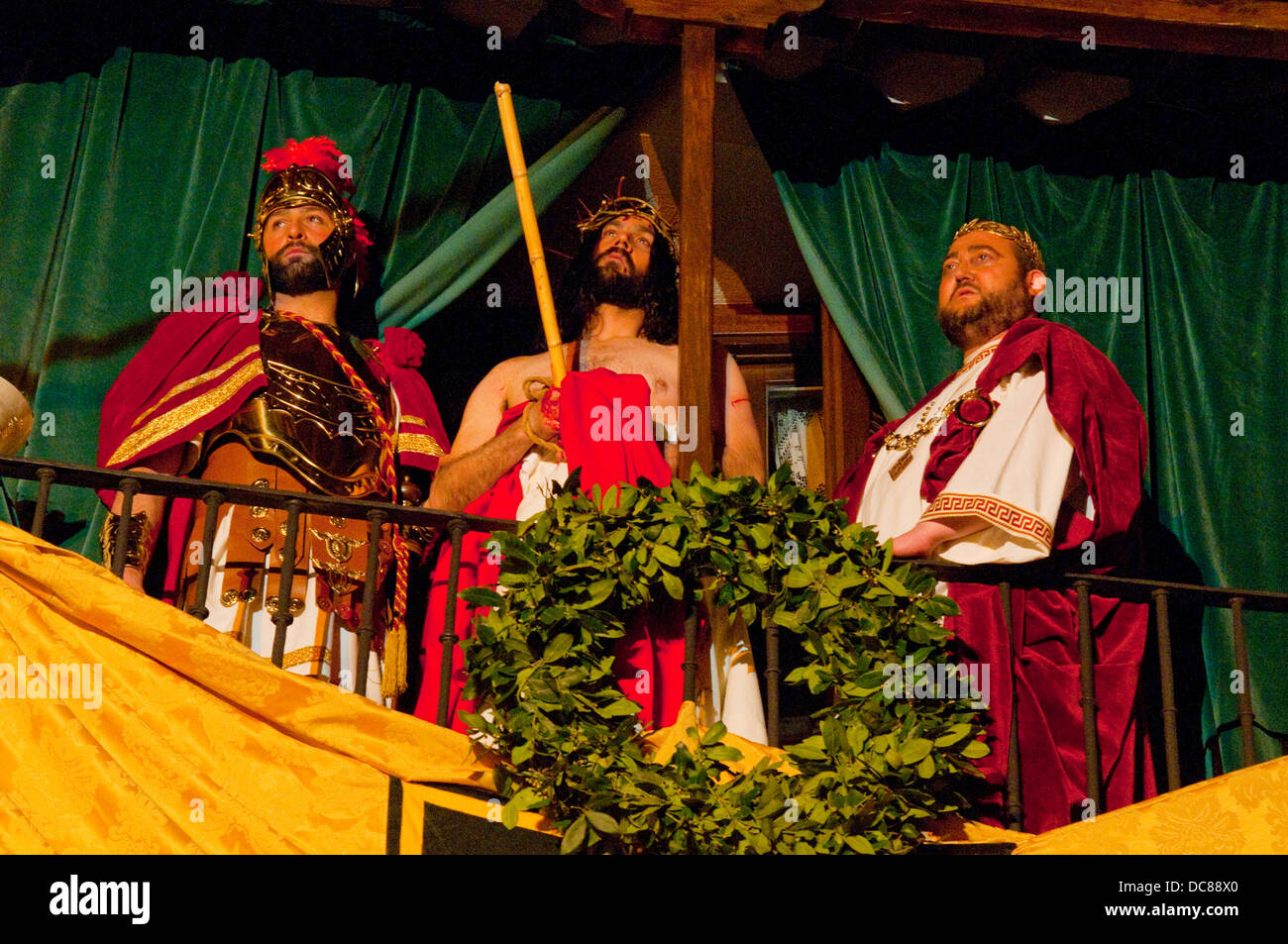 Jesus with Pilate. Holy Week, Passion of Chinchon, Chinchon, Madrid province, Spain. Stock Photo