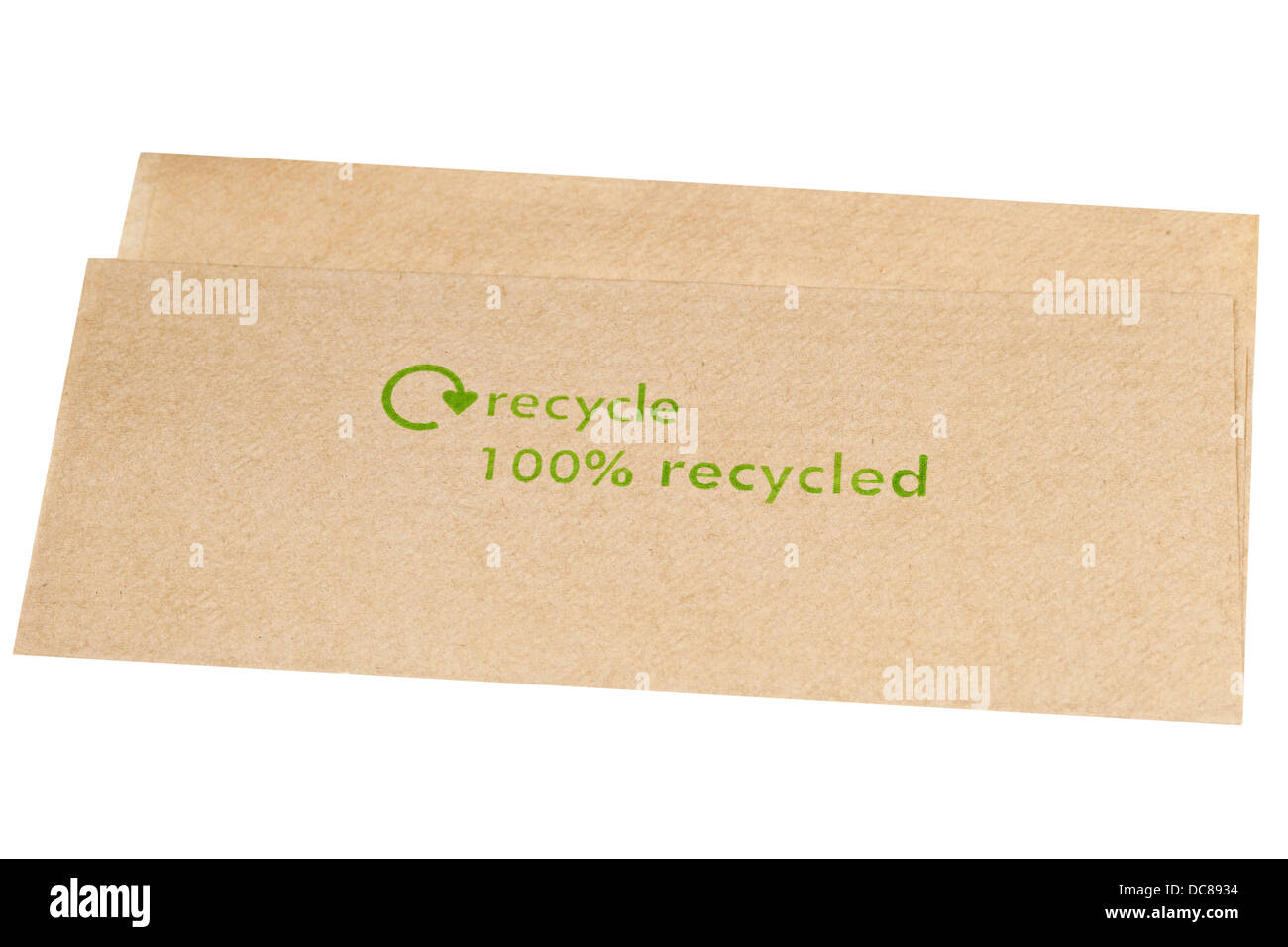 recycled paper napkin - Stock Image