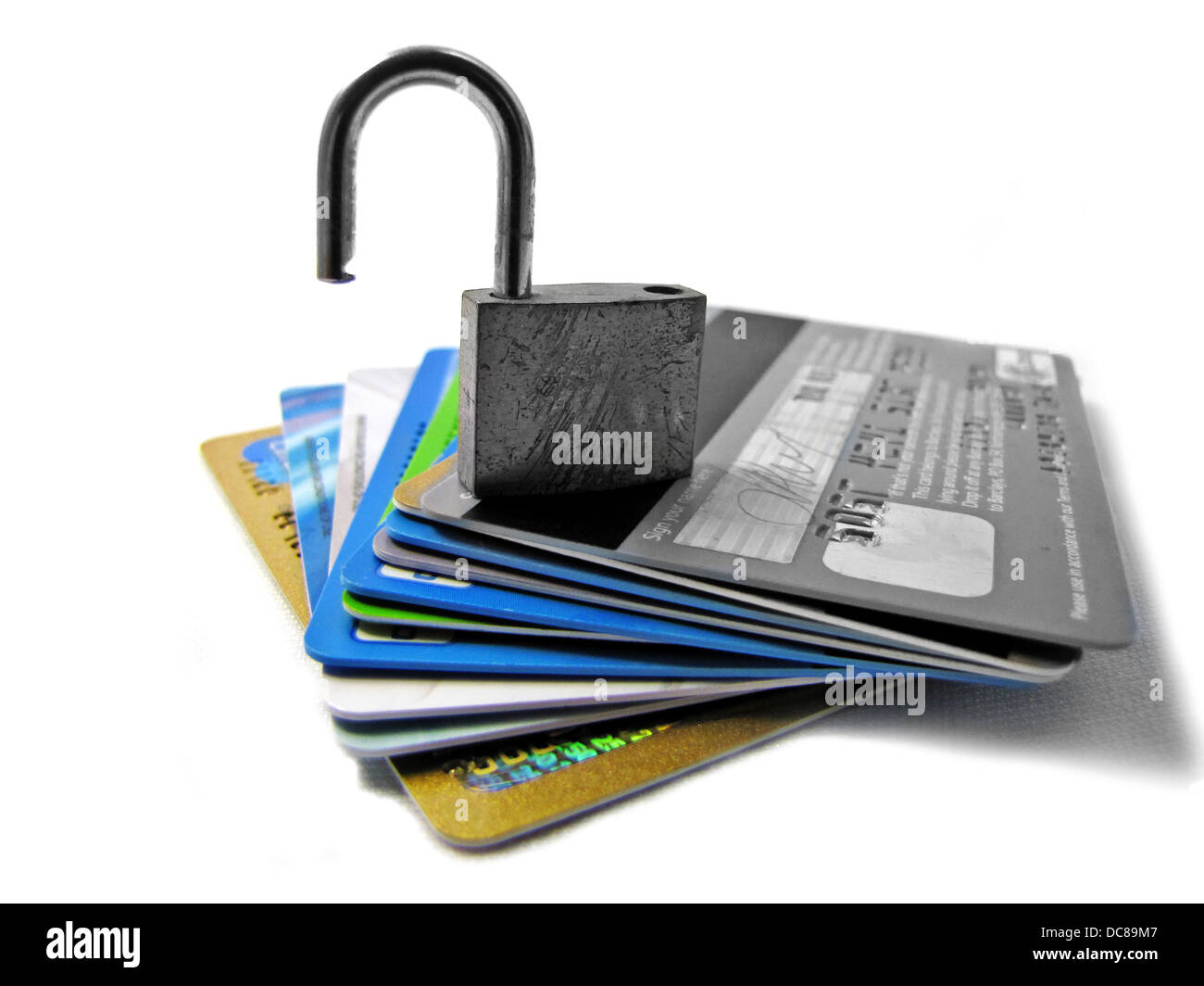 Unlocked and unsafe pin identity theft conceptual image - Stock Image