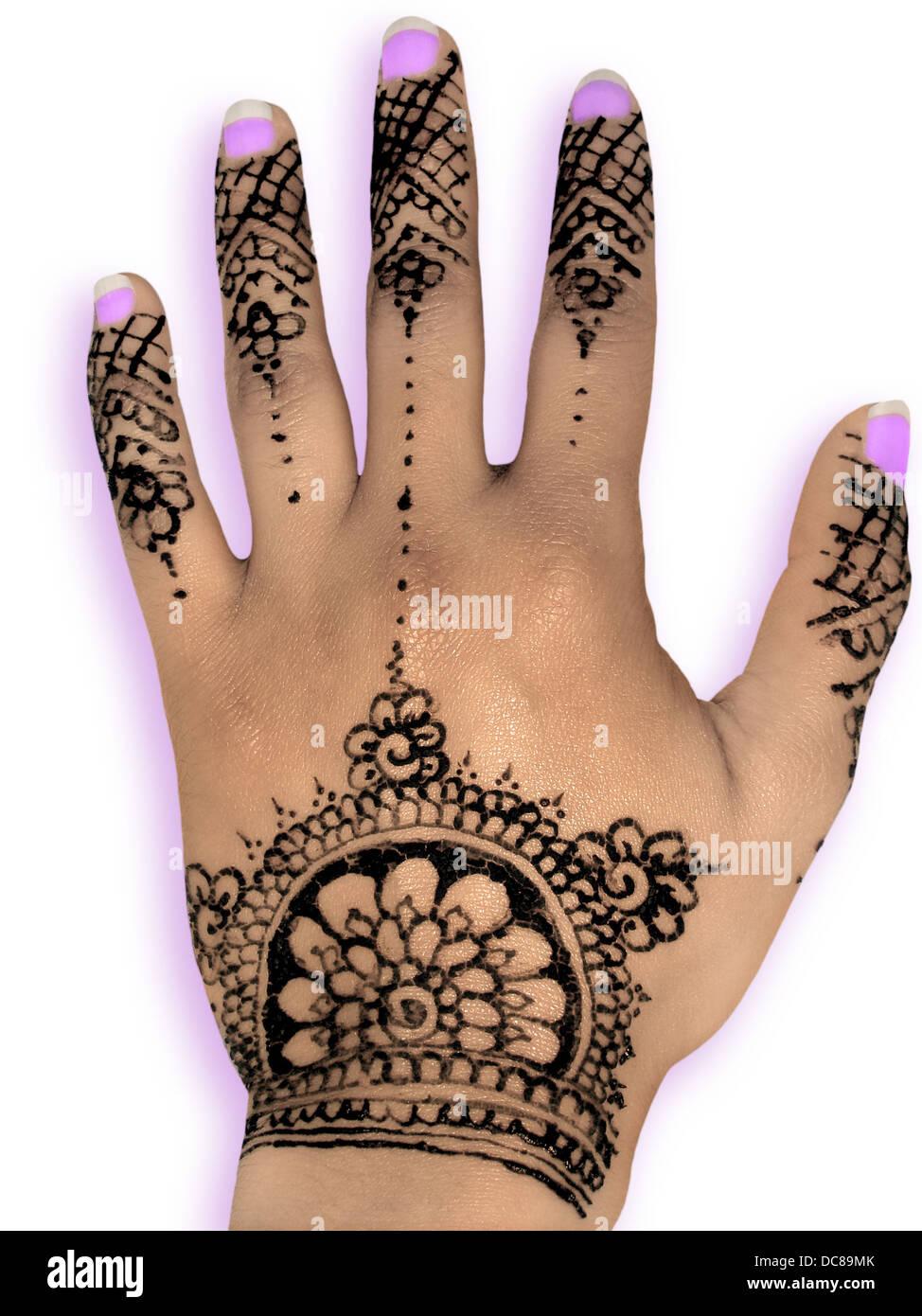 Henna Mehendi Design White Background Purple Nail Stock Photo