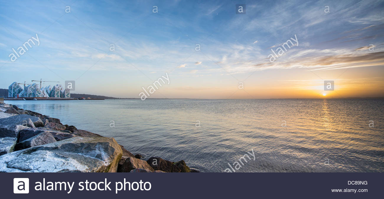 Ice Berg Building in Aarhus at sunset - Stock Image