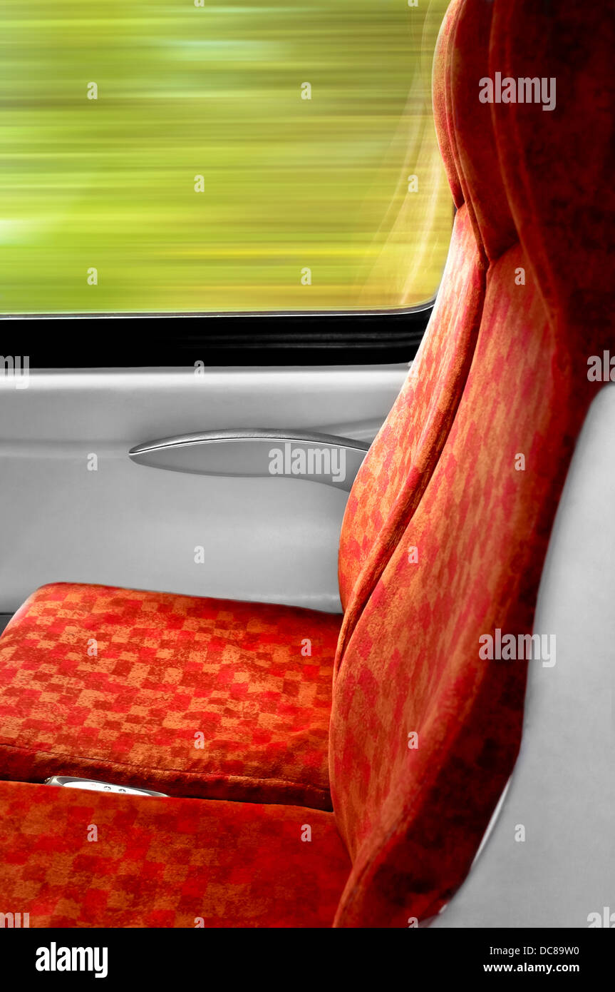 Empty train seat - reservation - Stock Image