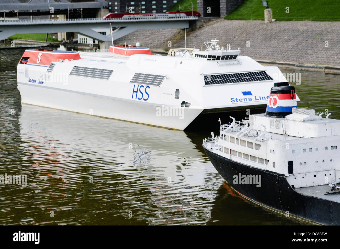 Stena Discovery HSS ferry, at Madurodam Interactive Miniture Park, Netherlands - Stock Image
