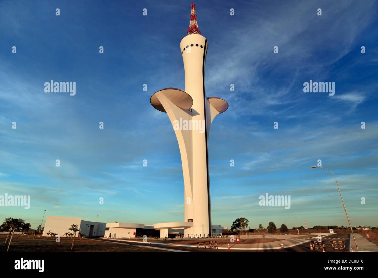 Brazil, Brasilia: Digital TV Tower designed by architect Oscar Niemeyer Stock Photo