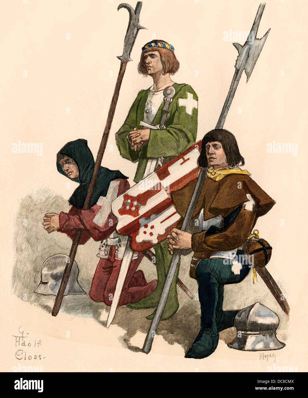 Swiss knight afoot with his page and squire, 1400s. Hand-colored print - Stock Image