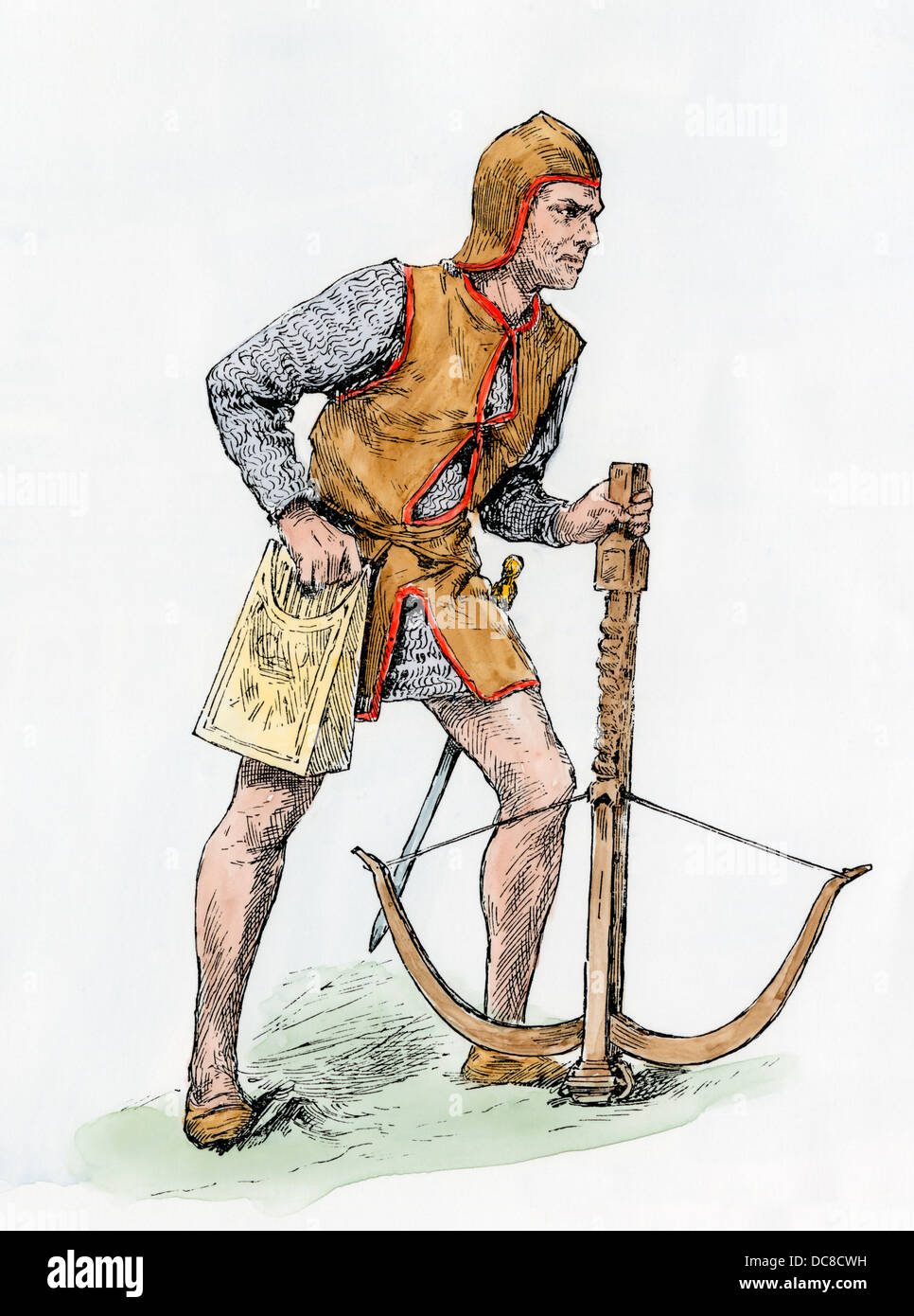Archer with a crossbow in the Middle Ages. Hand-colored woodcut - Stock Image