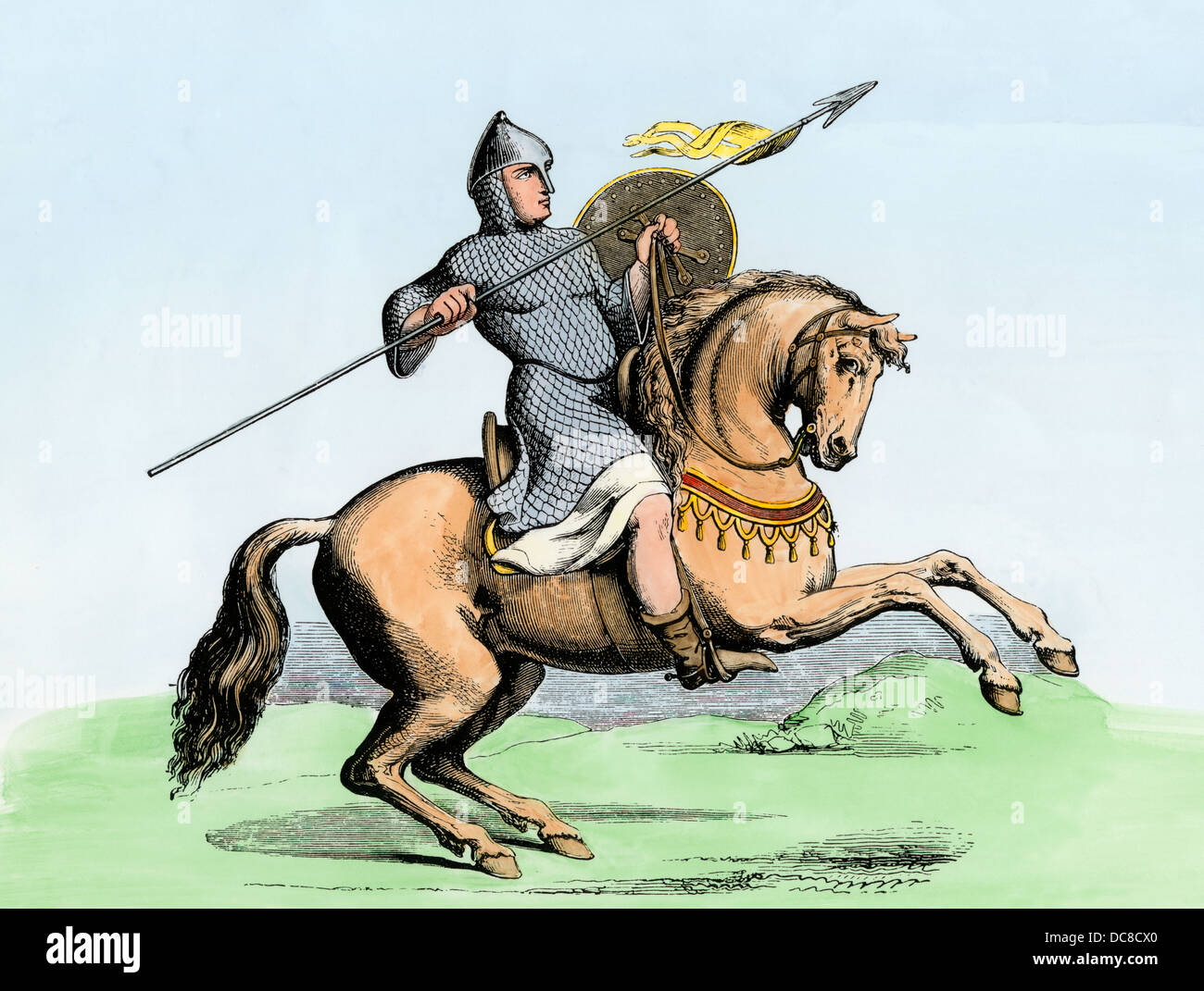 Mounted knight in a tunic of chain-mail. Hand-colored woodcut - Stock Image