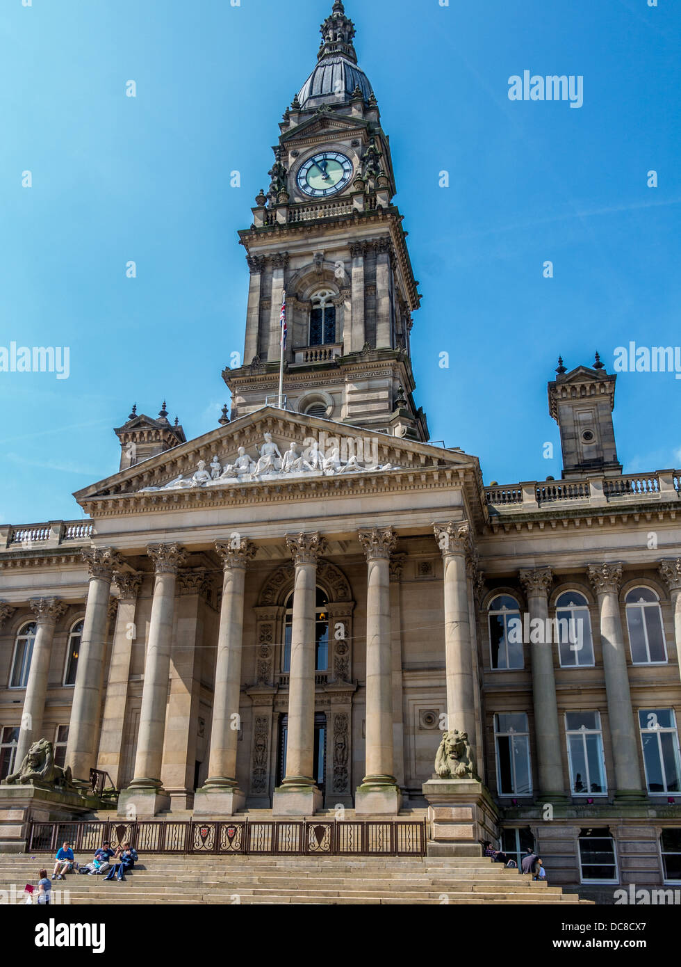 Bolton Town Hall showing clock tower - Stock Image