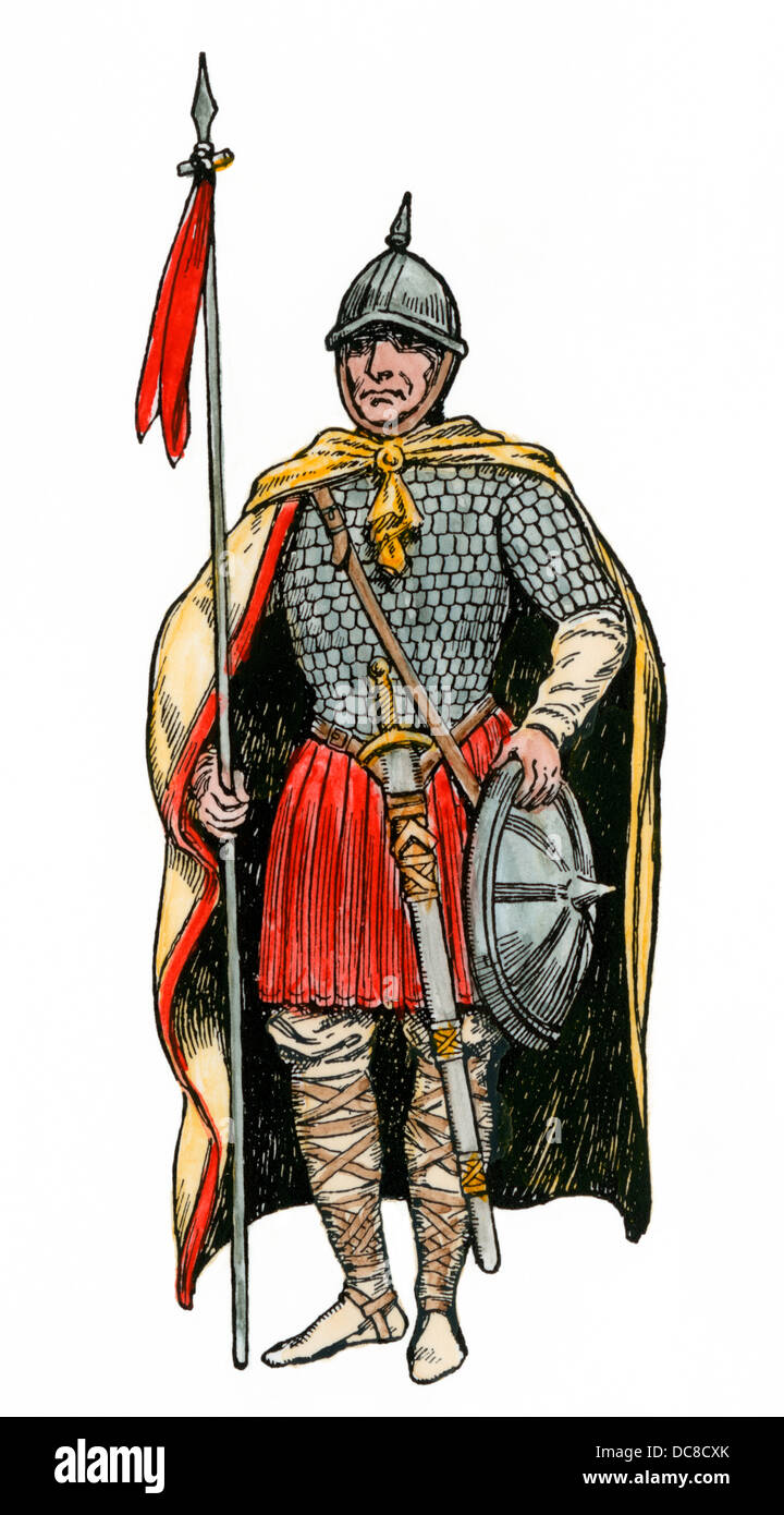 Soldier of the Franks under Charlemagne, about 800 AD. Hand-colored woodcut - Stock Image