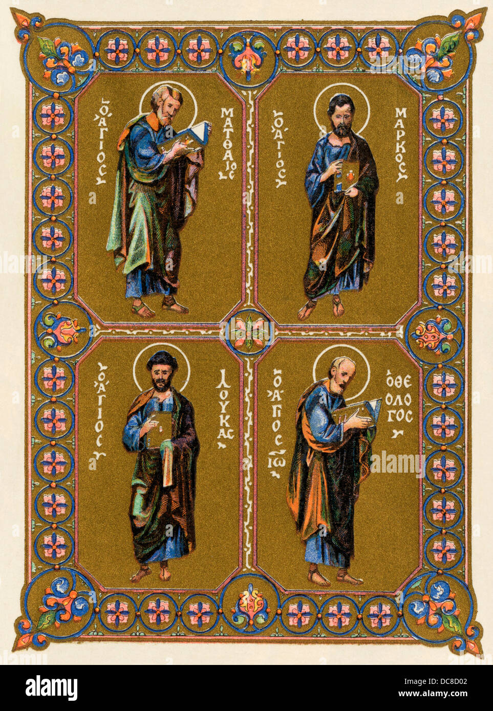 Evangelists Matthew, Mark, Luke, and John depicted in a Greek miniature from the 11th century. Color lithograph - Stock Image
